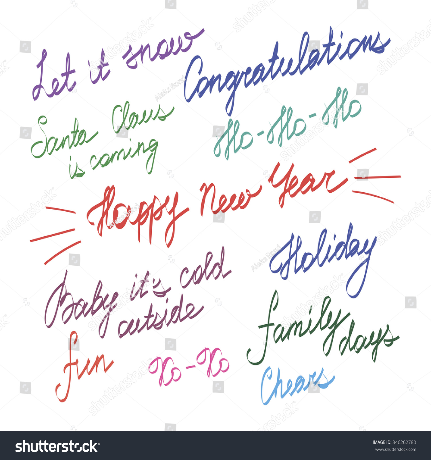 Handwriting Lettering Happy New Year Merry Stock Vector Royalty