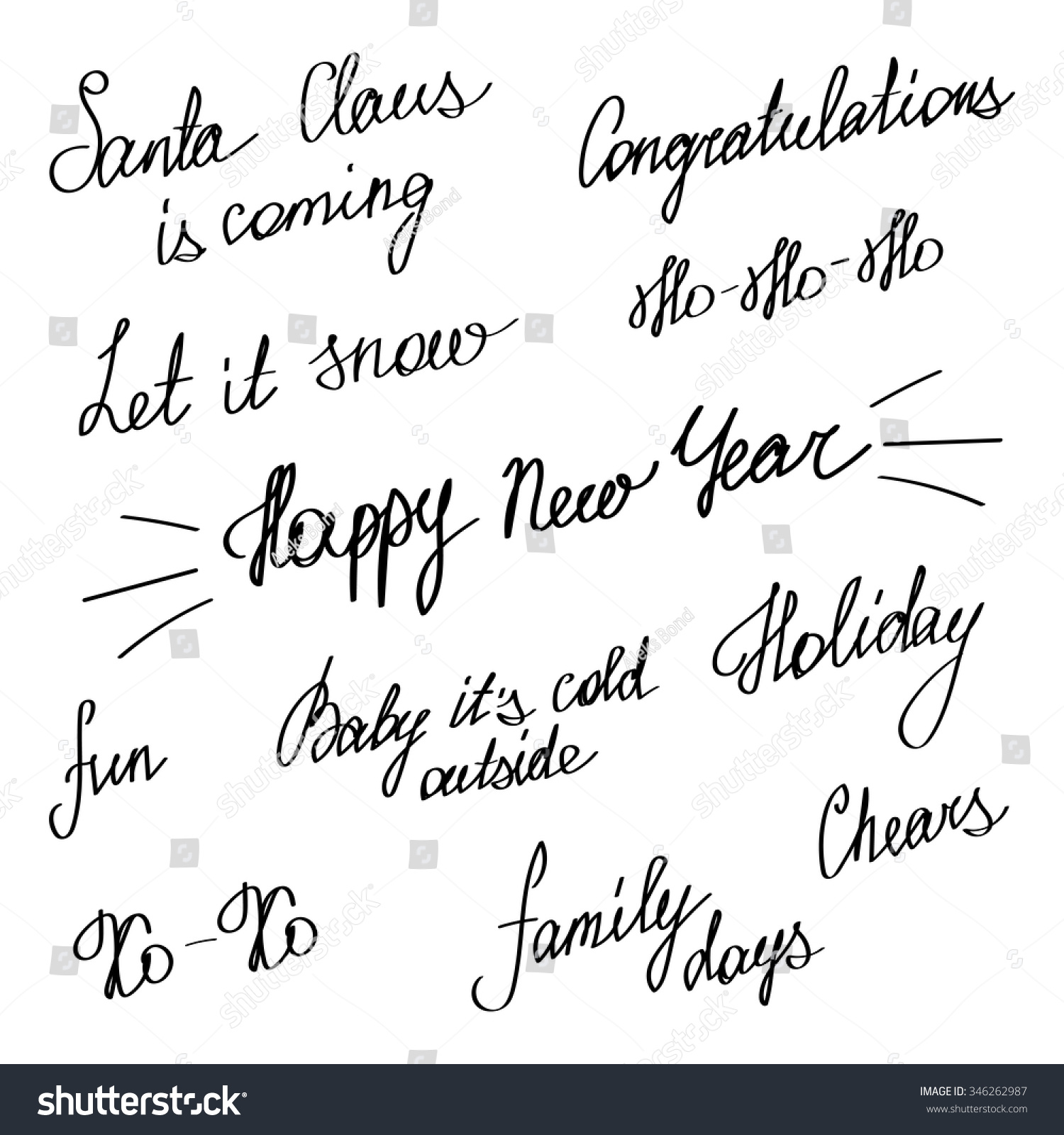 Handwriting Happy New Year Merry Christmas Stock Vector (Royalty ...