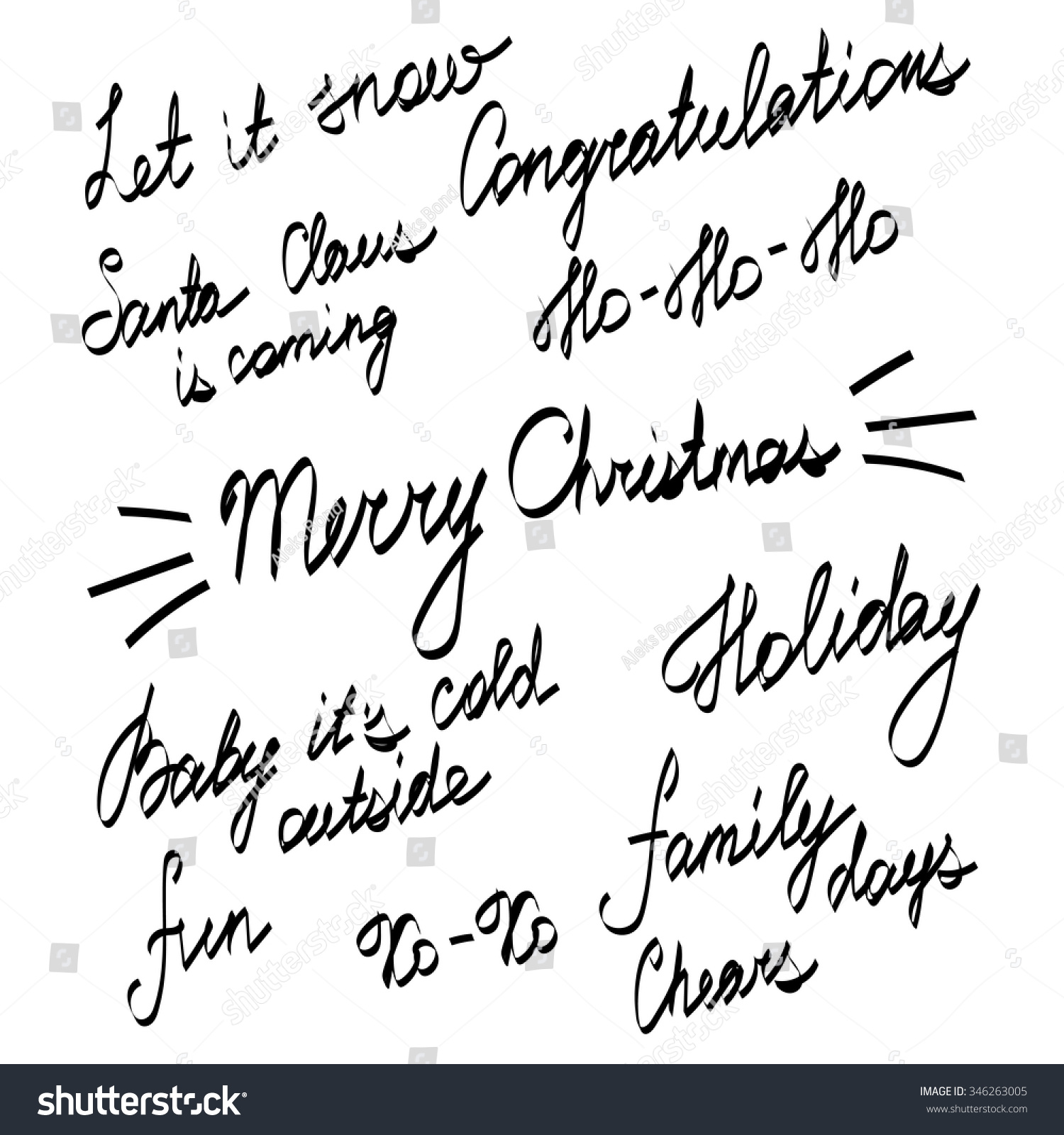 Handwriting Lettering Happy New Year Merry Stock Vector (Royalty ...