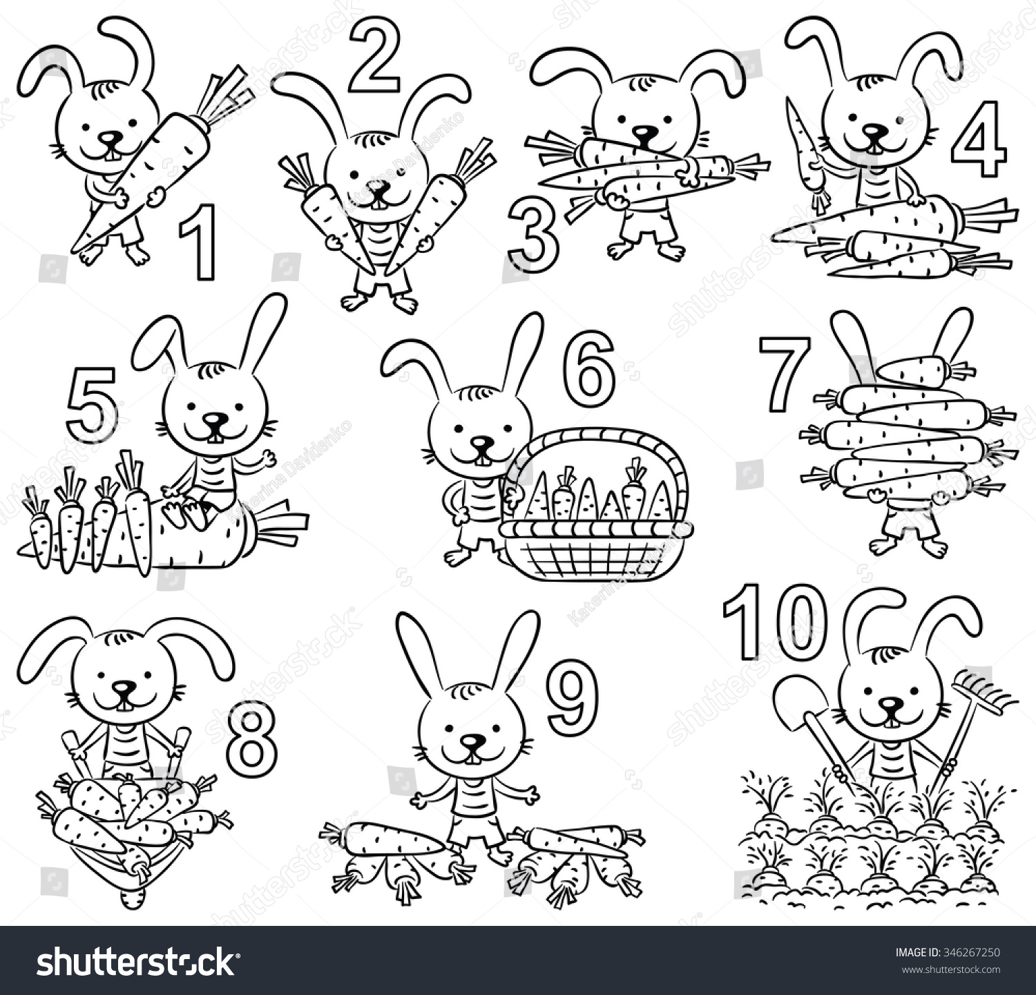 Coloring by numbers for rabbits - Numbers In Cartoon Pictures Set Rabbit And His Carrots Black And White Outline