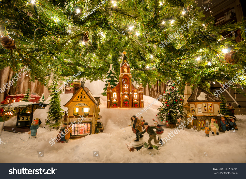 Traditional Miniature Christmas Village Beneath Tree Holidays Stock Image 346280294