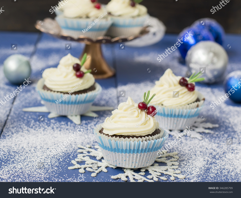 Chocolate cupcake cream cheese christmas decorations stock photo 346285799 shutterstock - Creme decoration cupcake ...