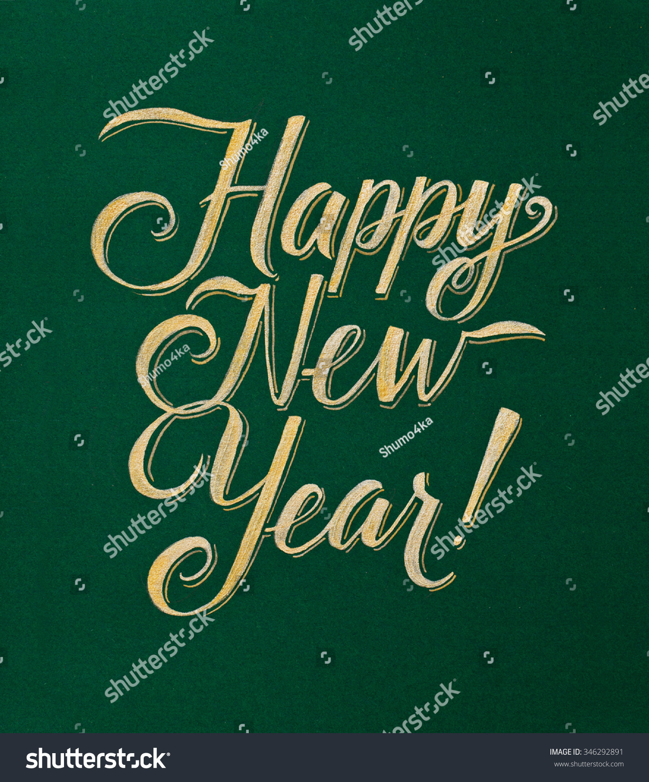 Happy New Year Greeting Card Gold Inscription On Green Background