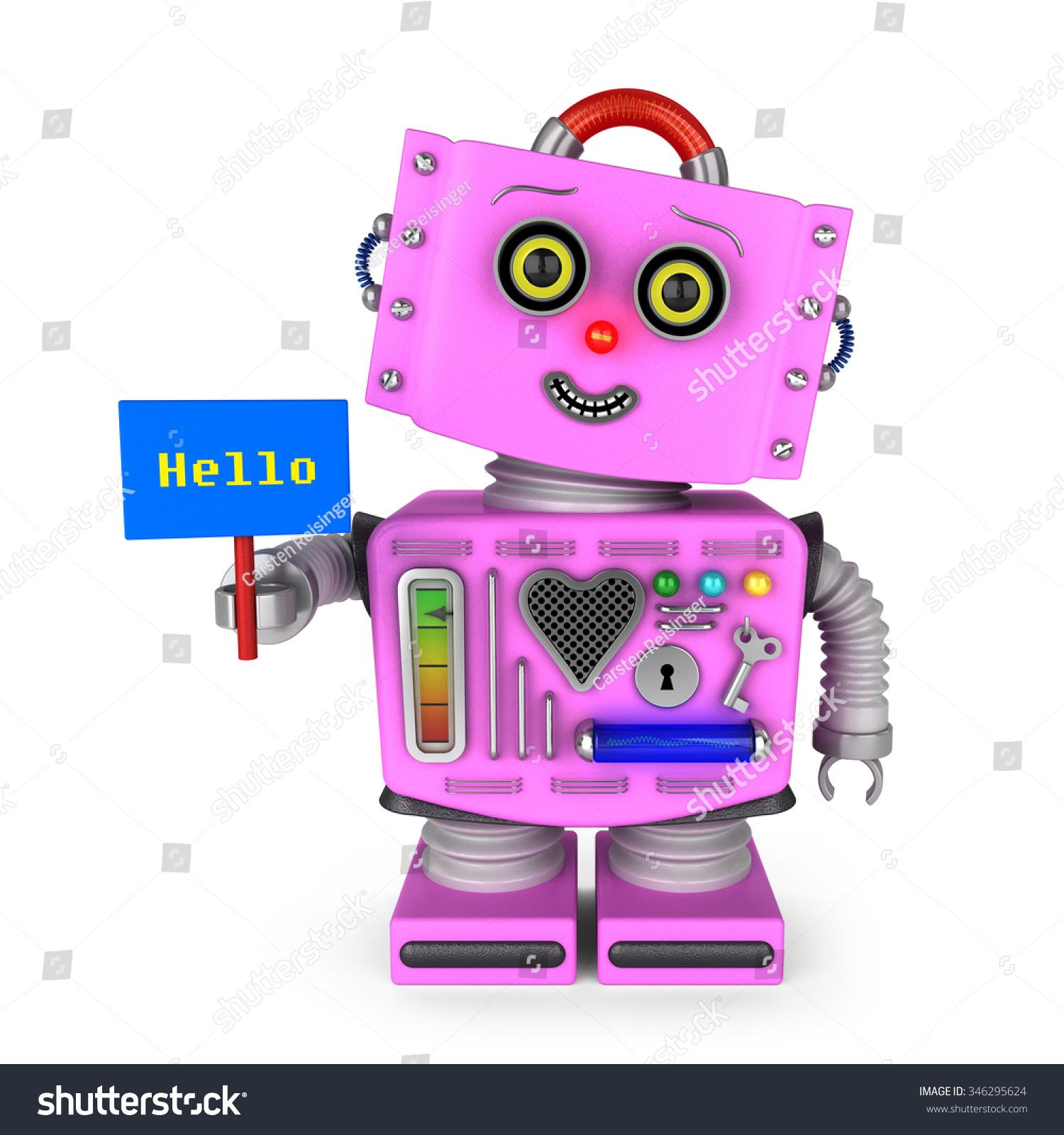 Pink Vintage Toy Robot Girl Head Stock Illustration