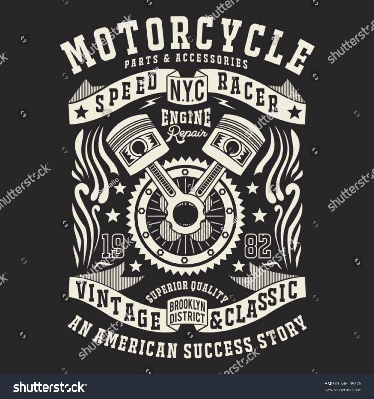 Motorcycle racer engine typography tshirt graphics stock for Vector art for t shirts