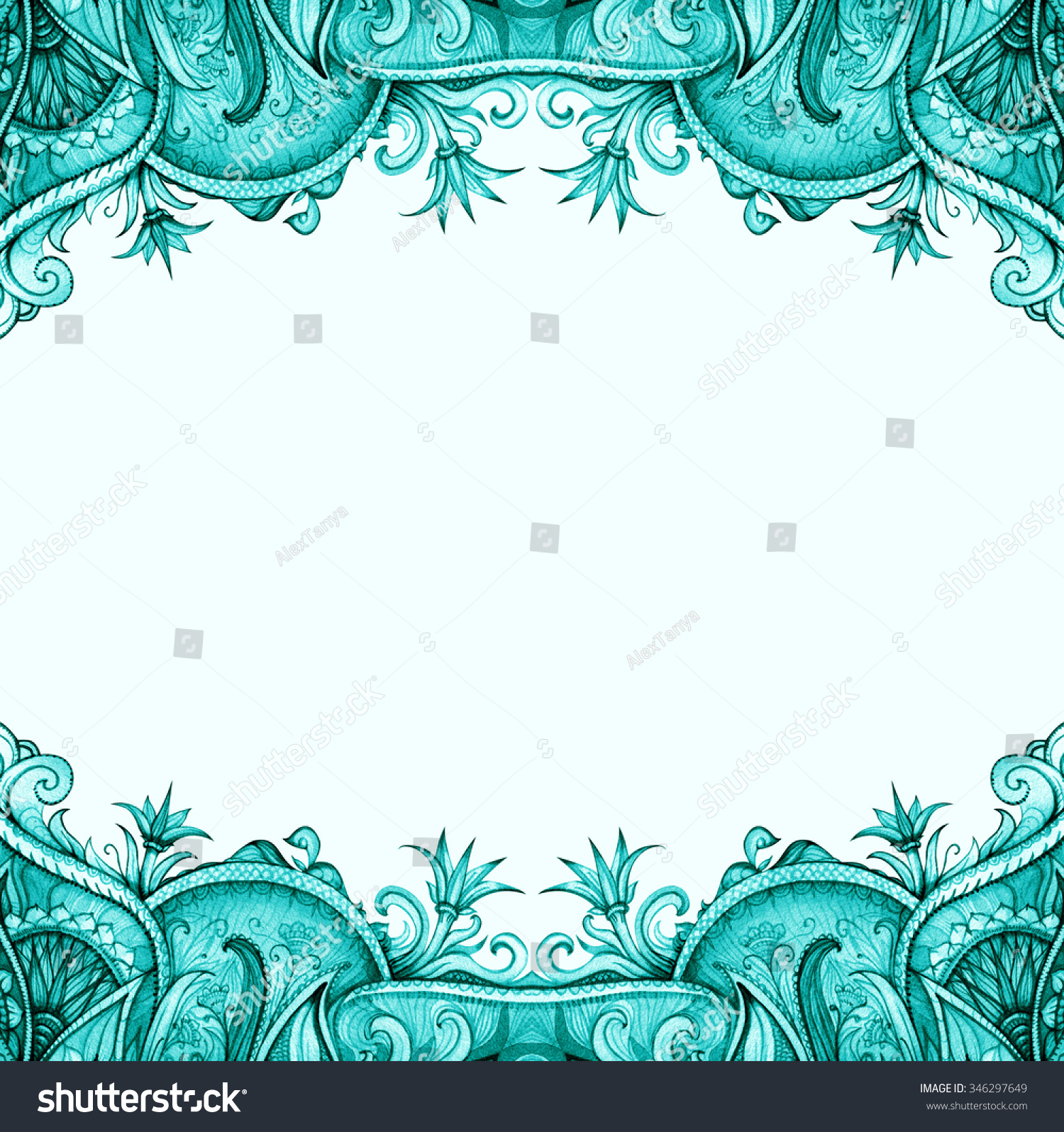 Blue Vintage Frame Isolated On White Vintage Stock Illustration