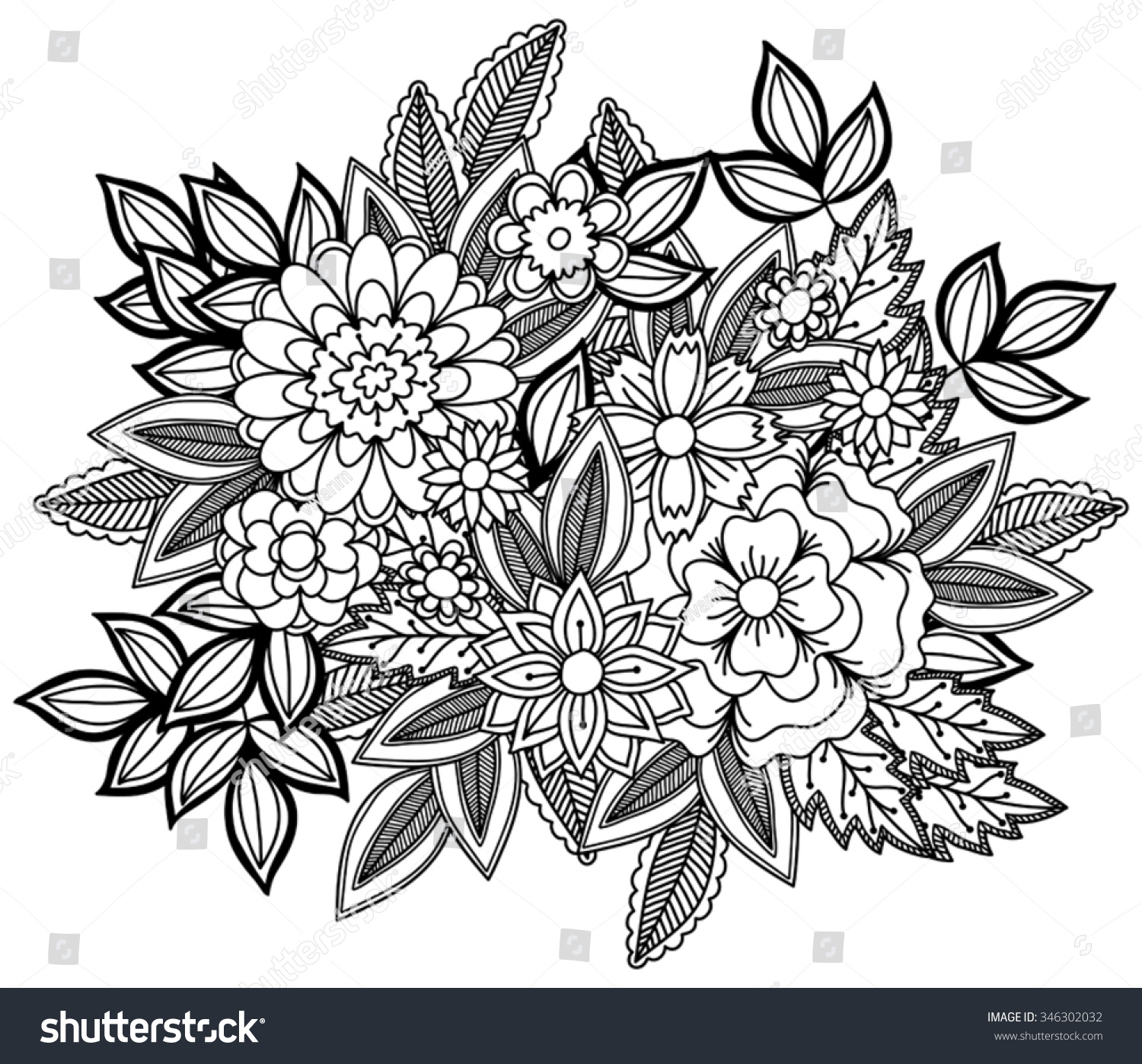Beautiful Doodle Art Flowers Hand Drawn Stock Vector Royalty Free