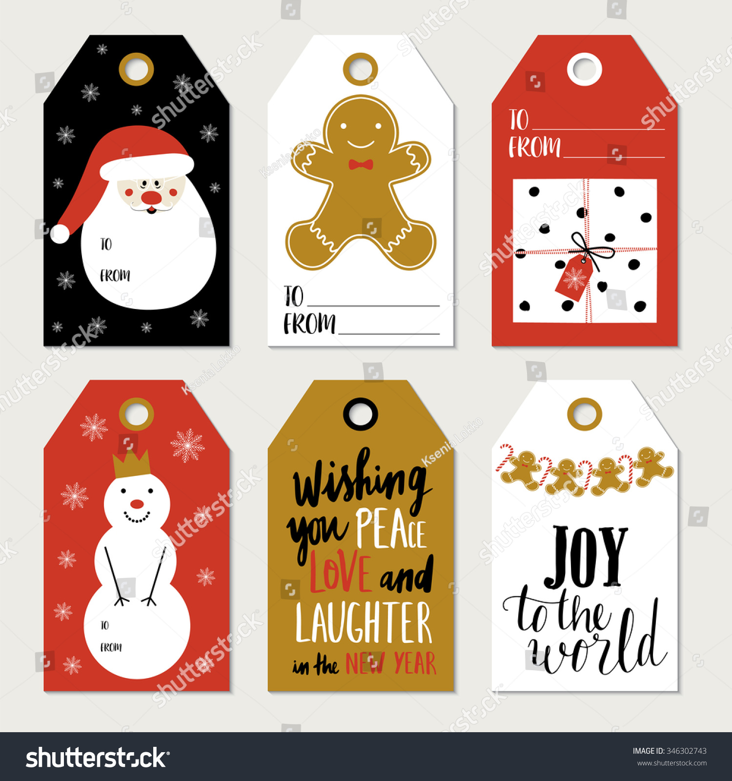 christmas gift tags stickers labels template stock vector royalty