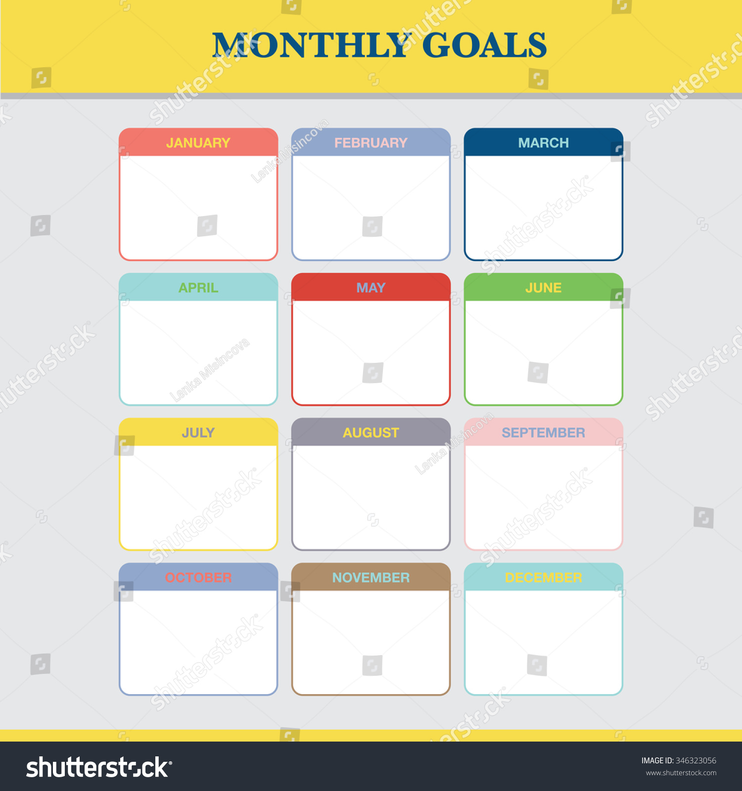 Blank Vector Calendar Template : Monthly goals calendar template year stock vector