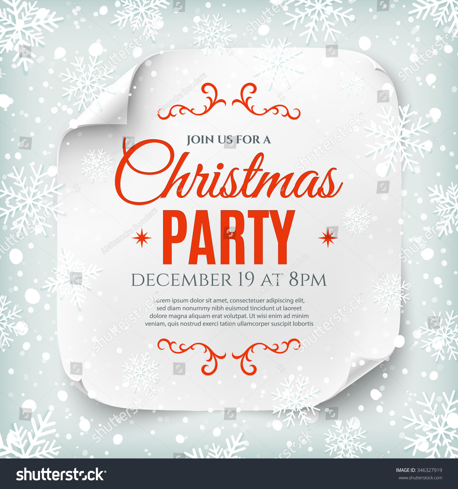 christmas party poster template snow and snowflakes save to a lightbox