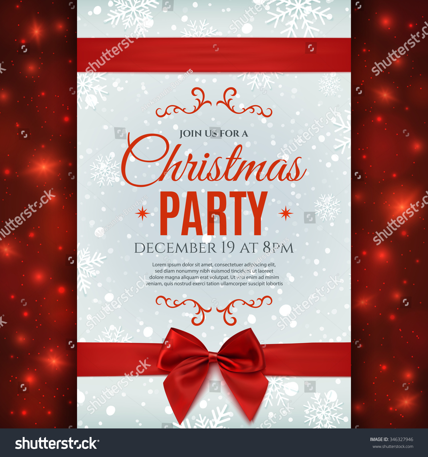 christmas party poster template snow snowflakes stock vector christmas party poster template snow and snowflakes christmas background red ribbon and bow