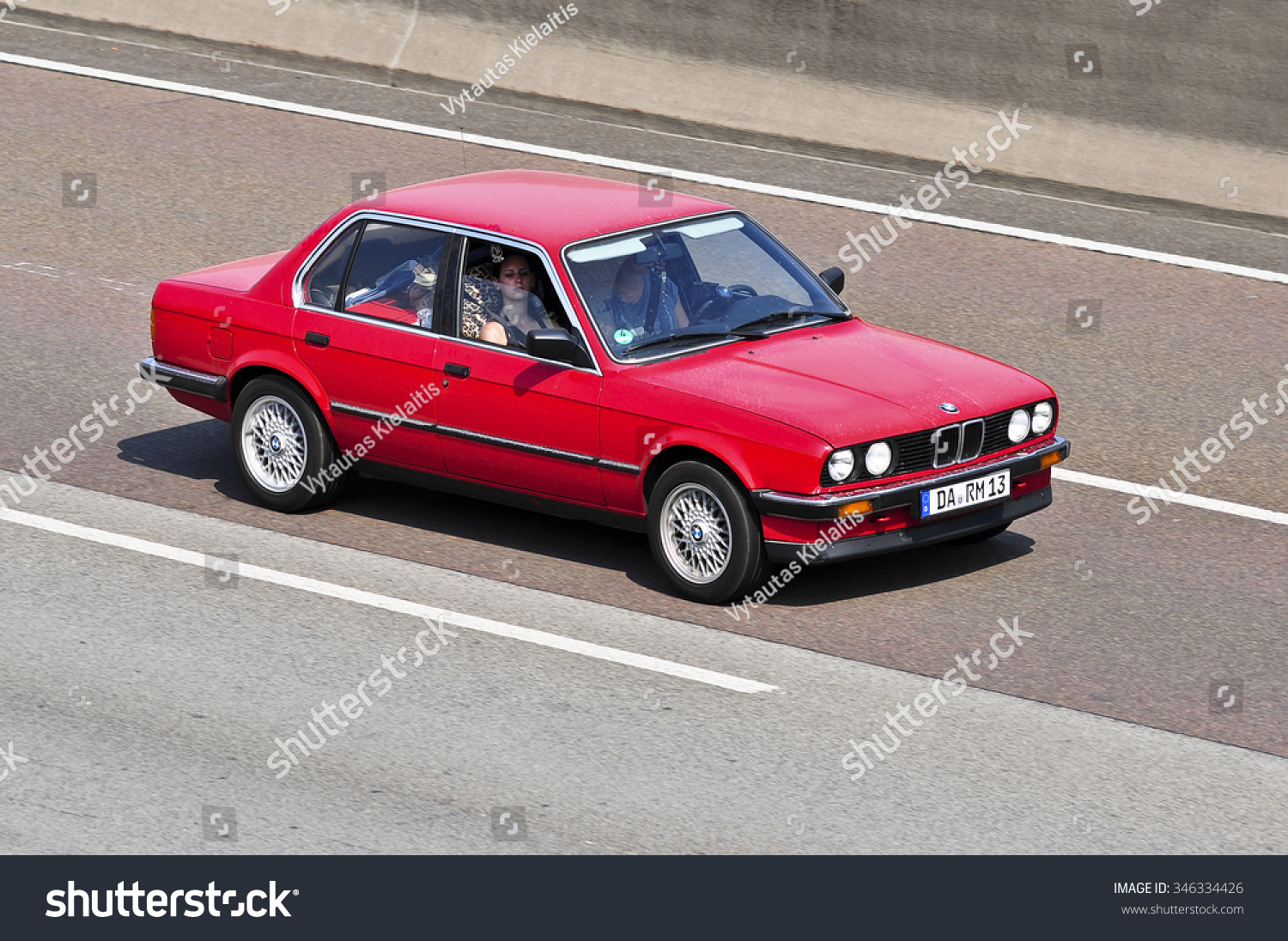 Frankfurtgermany Aug 10 Old Red Bmw Stock Photo Edit Now 346334426