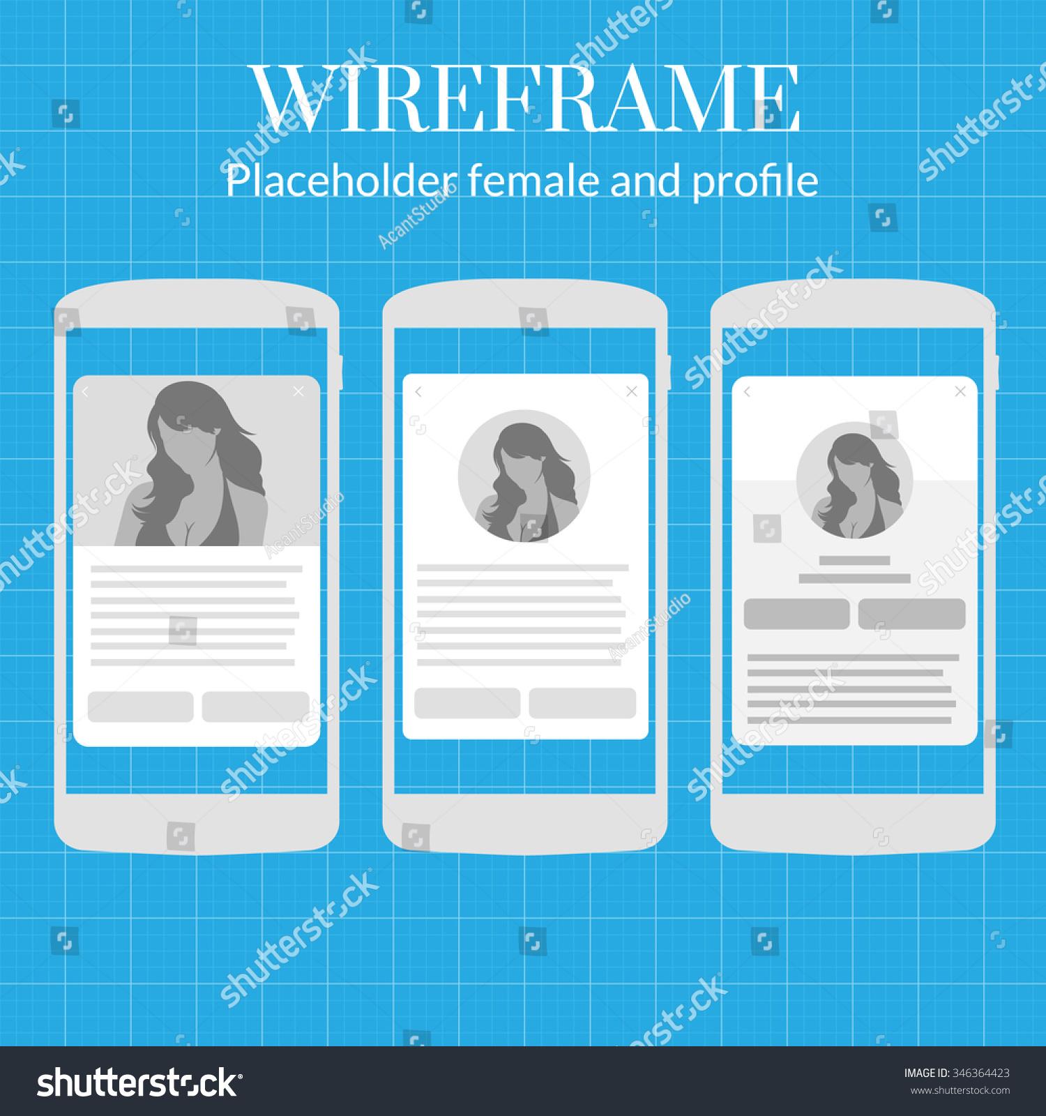 Mobile App Wire Frame Blueprint Kit Stock Vector 346364423 ...