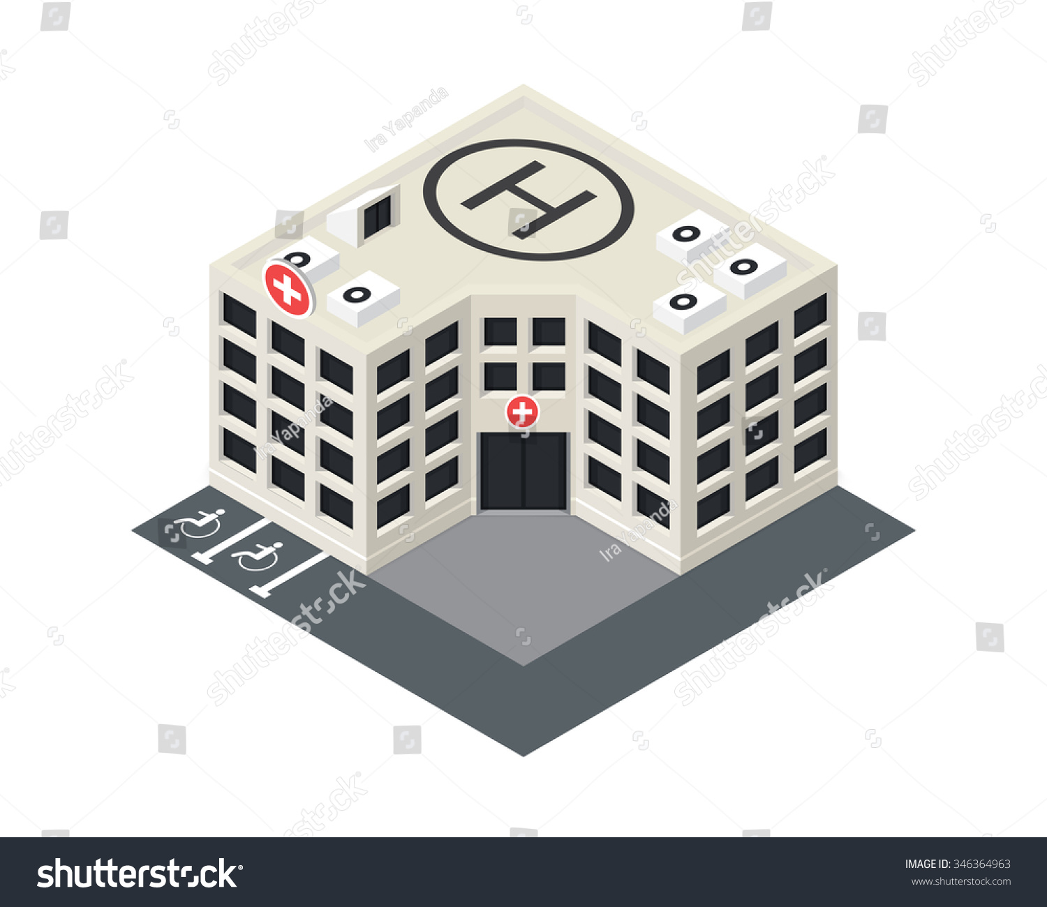 Vector Isometric Hospital Building Icon Emergency Stock
