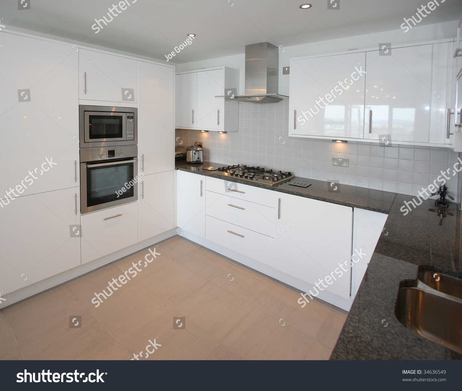 Granite Worktop Kitchen Modern Kitchen With Black Granite Worktop Stock Photo 34636549