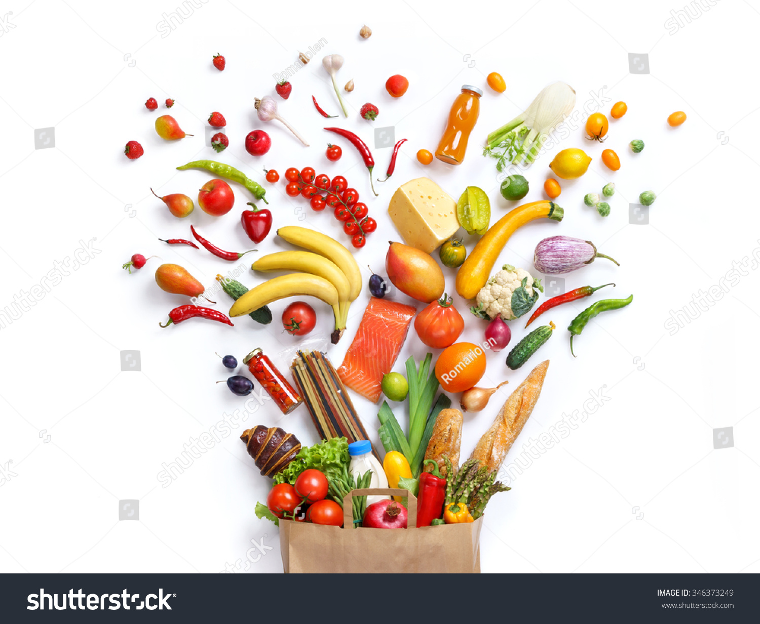 Healthy Eating Background / Studio Photography Of Different Fruits And Vegetables On White ...