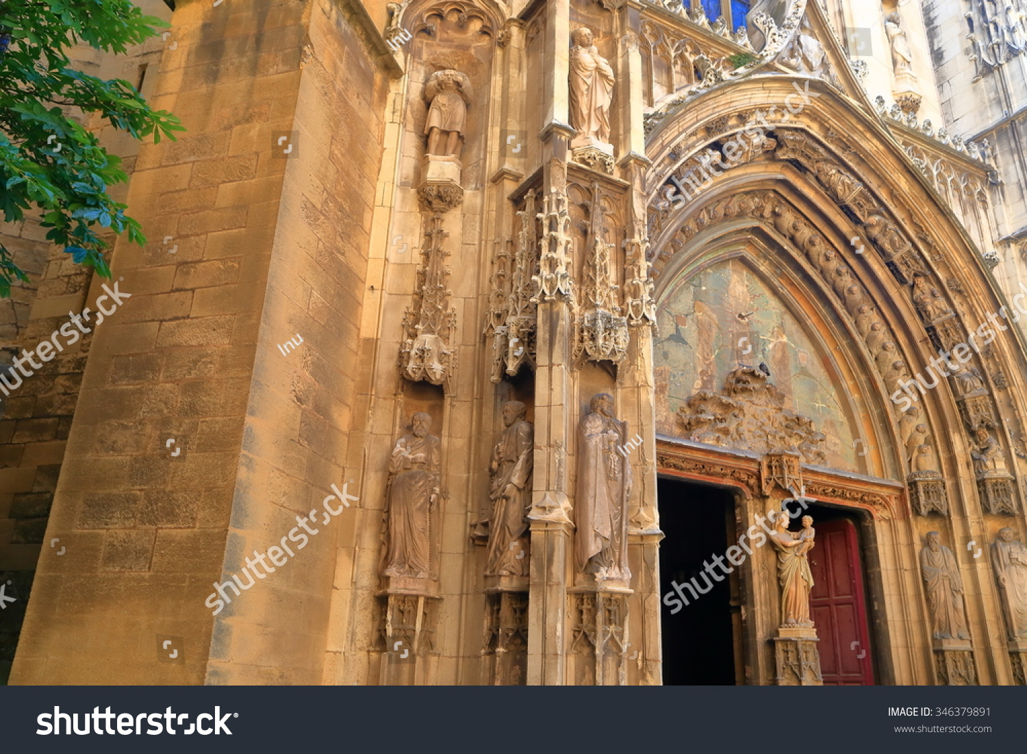 detail gothic architecture on facade church stock photo 346379891 shutterstock. Black Bedroom Furniture Sets. Home Design Ideas