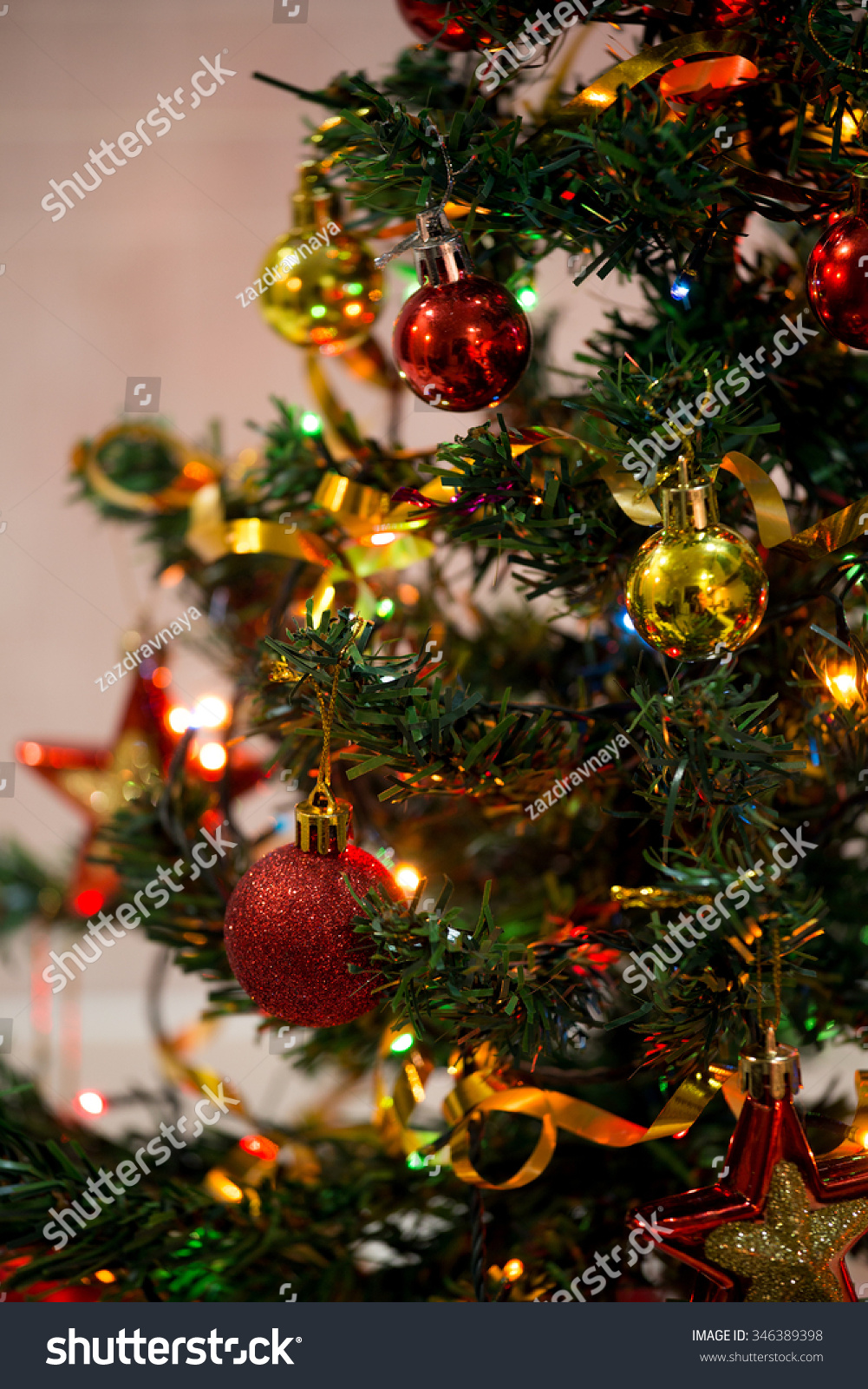 Part Of Decorated Christmas Tree Stock Photo 346389398 : Shutterstock