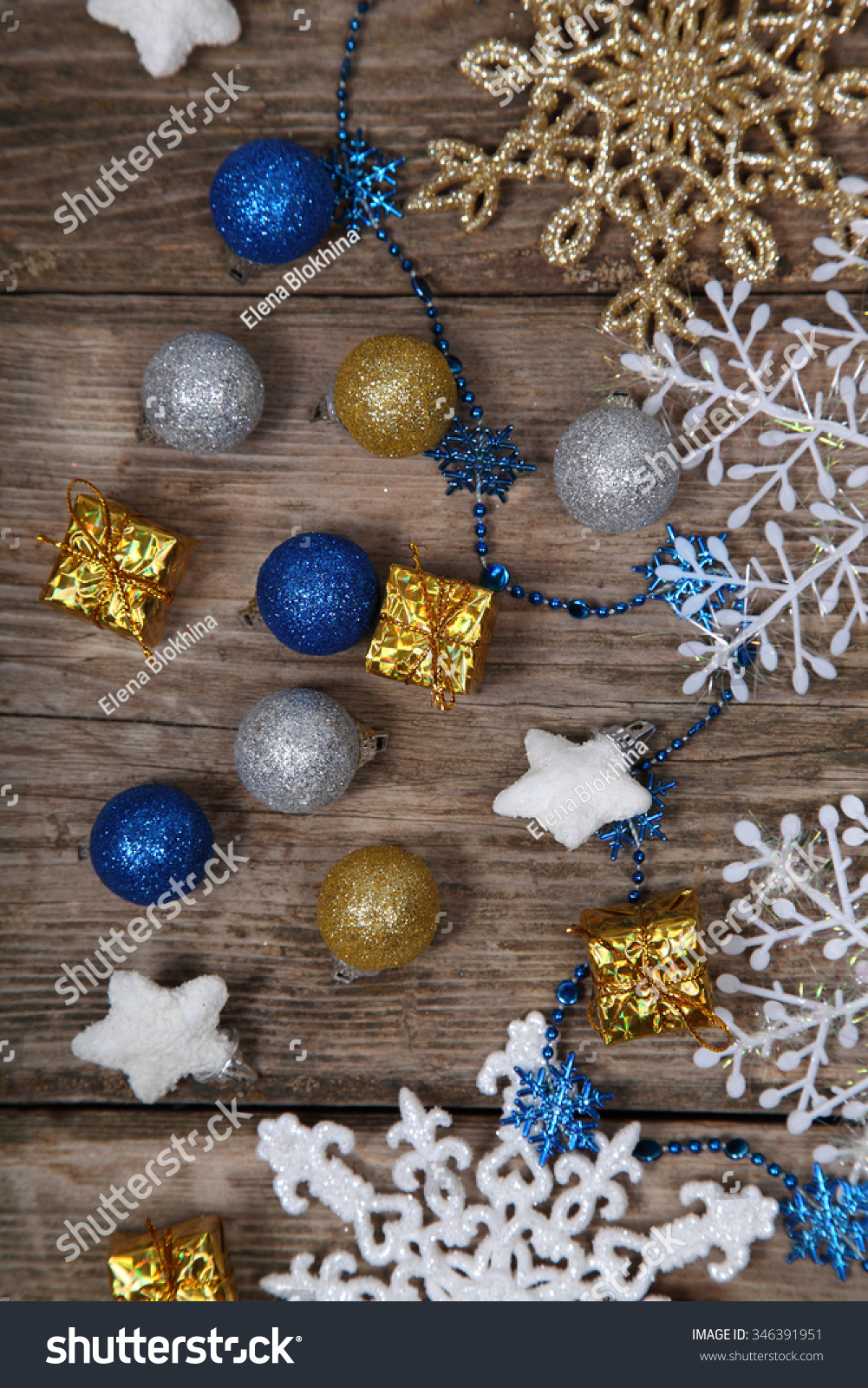 Christmas decorations on an old wooden table. Christmas background ...