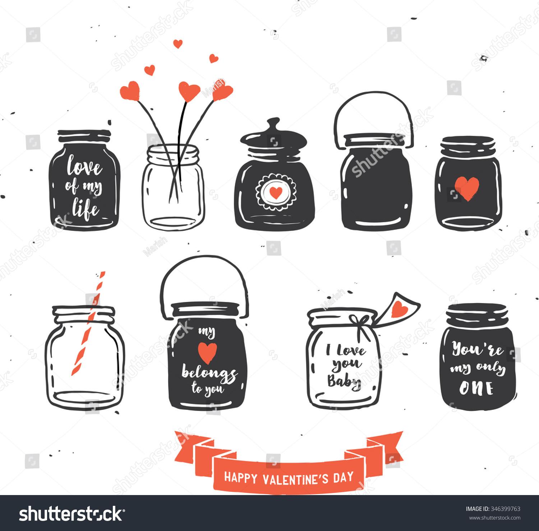 hand drawn mason jar collection love quotes stock vector