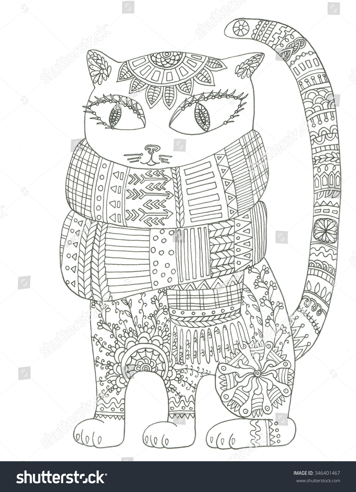 royalty free cat in scarf coloring page 346401467 stock photo