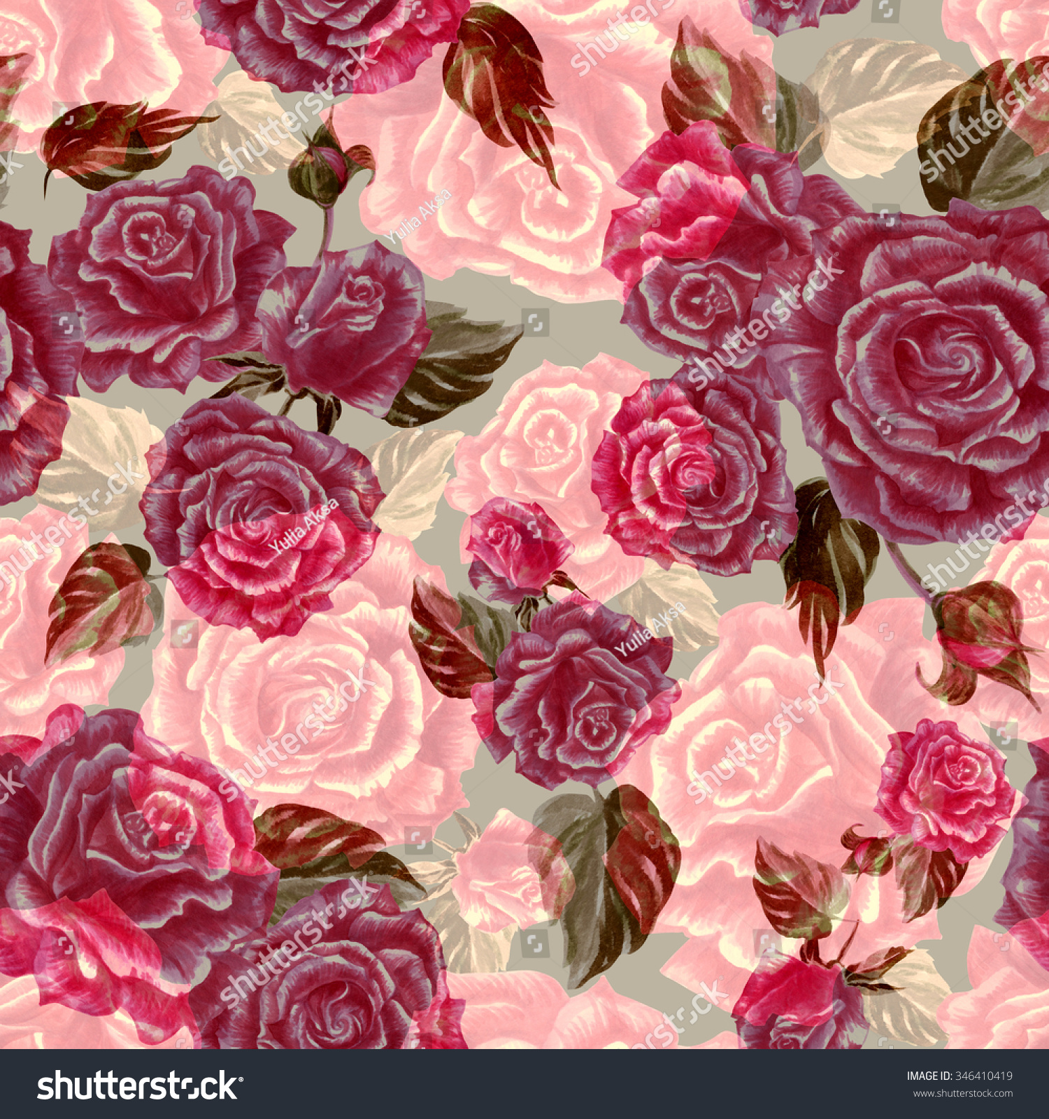 Vintage Floral Pattern Red Roses Background Stock Illustration ...