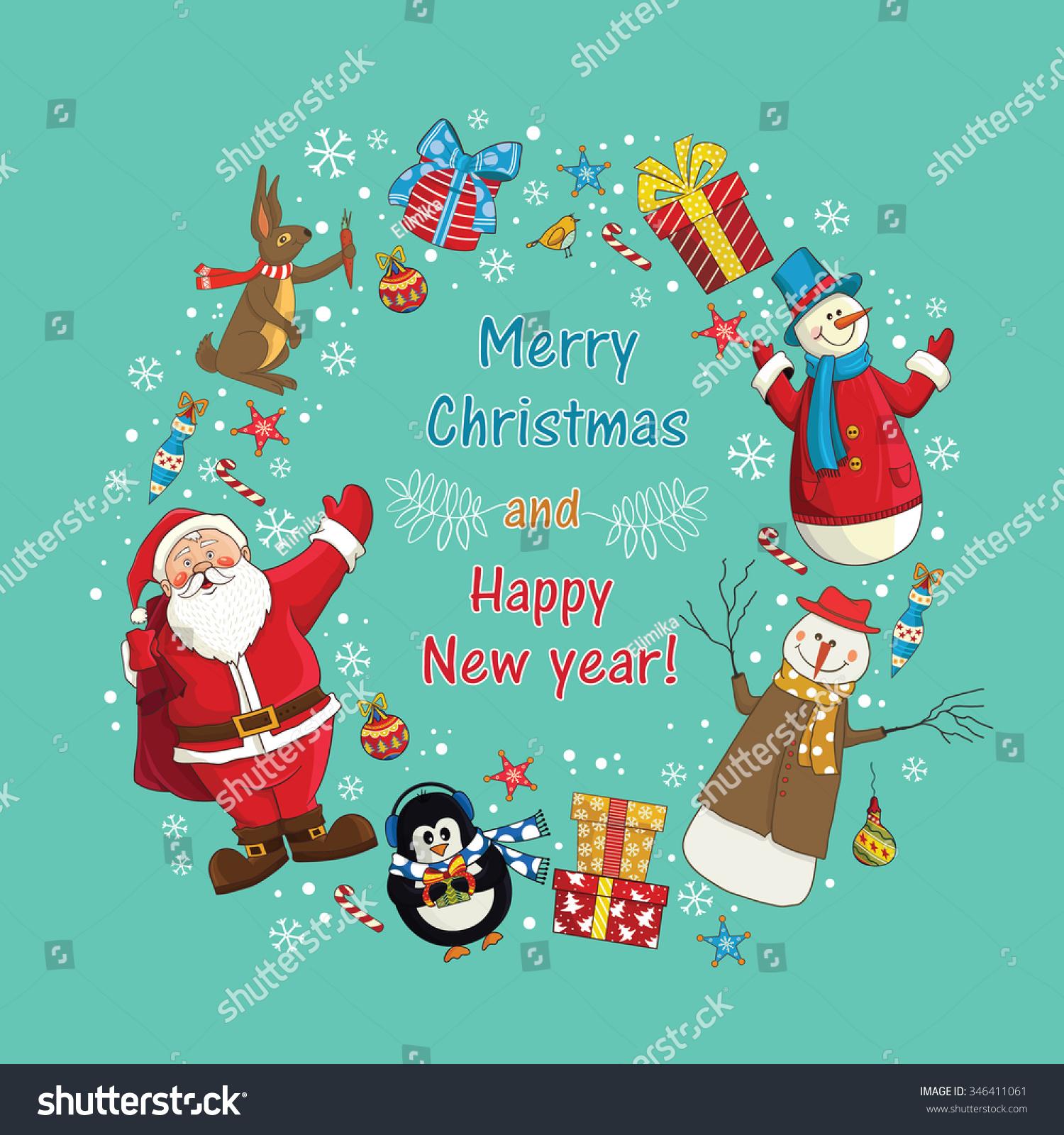 Greeting card christmas card santa claus stock vector royalty free greeting card christmas card with santa claus snowmen hare christmas gifts m4hsunfo
