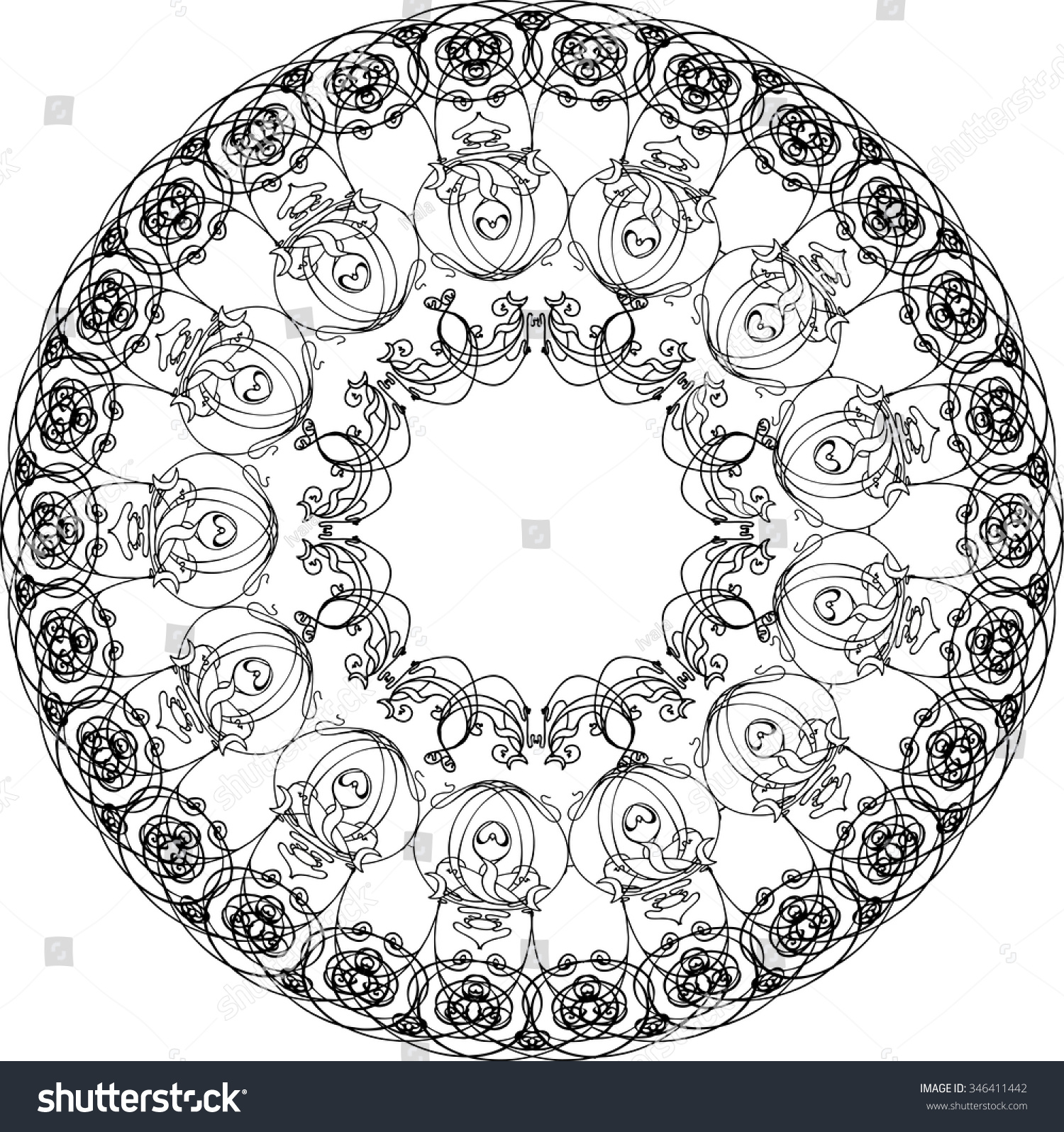 Color art kaleidoscope - Art Nouveau Kaleidoscope Mandala With Perfume Bottle Doodle Design For Color Book Vector Design