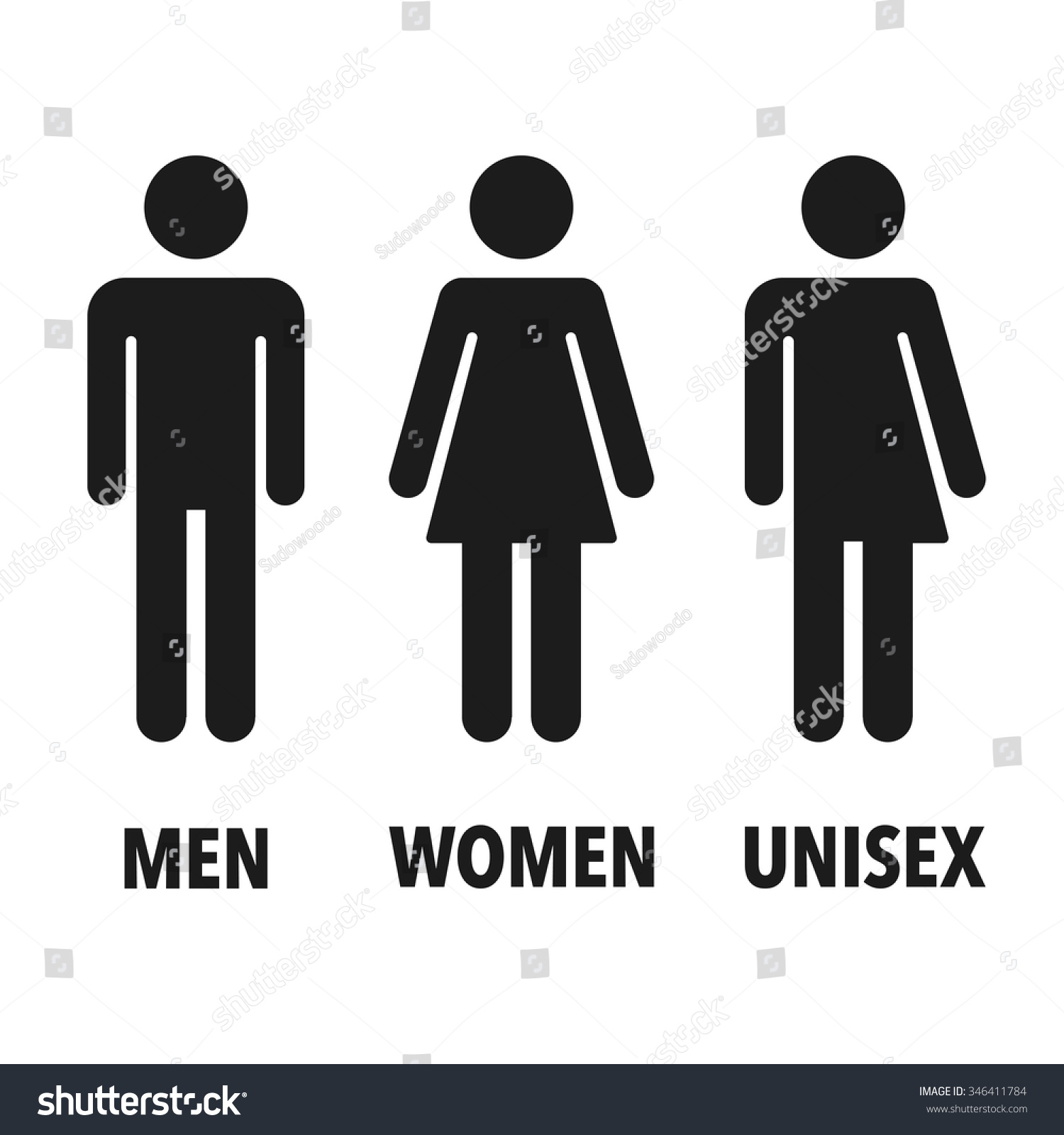 Restroom Gender Icons: Man, Woman And Unisex. Isolated Vector Signs.