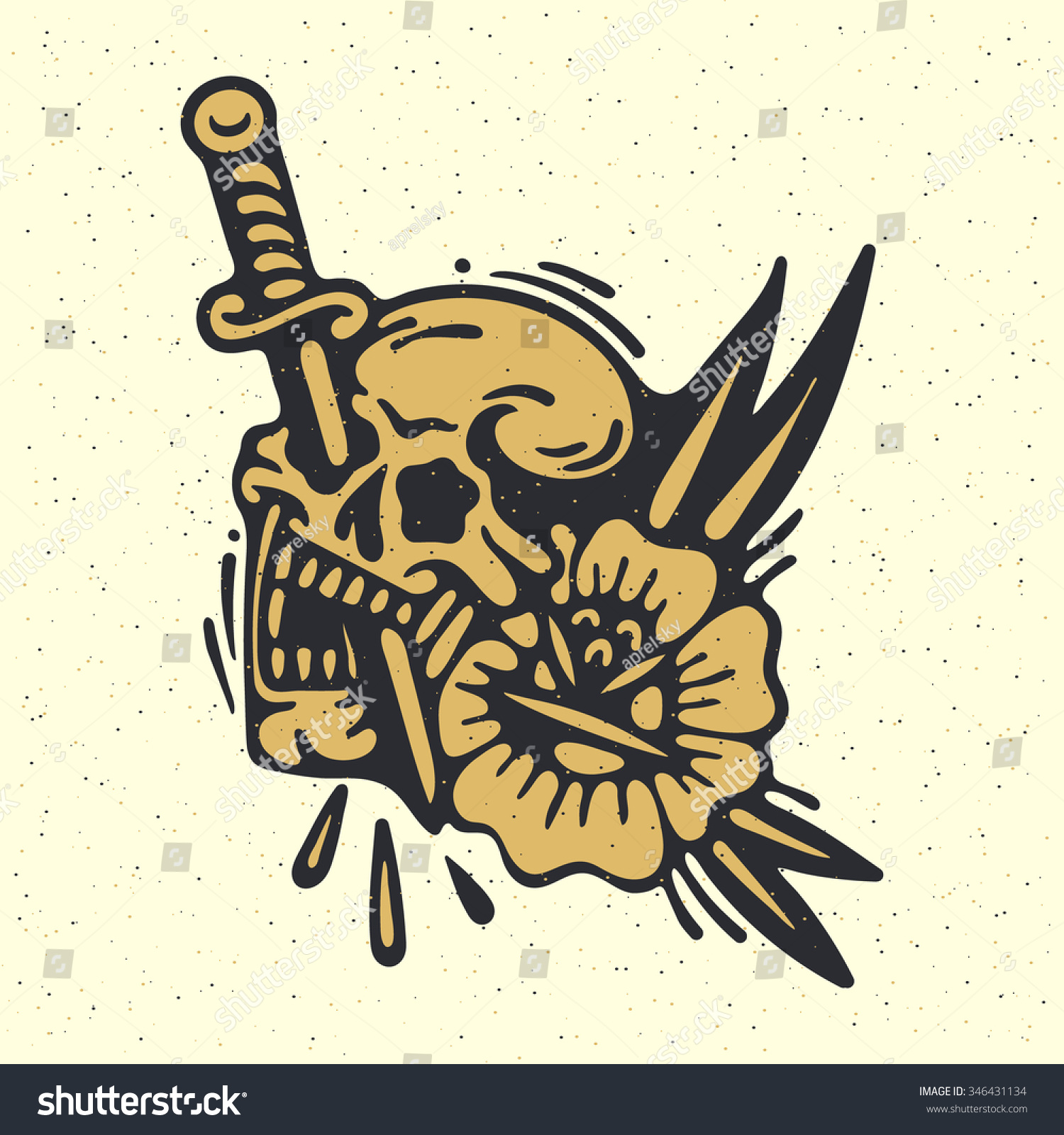 Traditional Tattoo Flash Skull Sword Flower Stock Vector