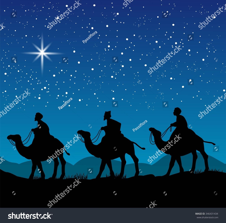 Christian christmas scene three wise men stock vector