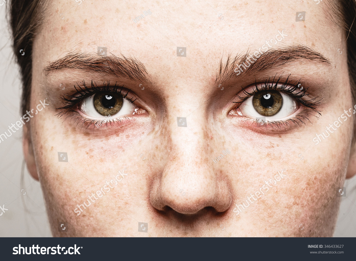Eyes woman Young beautiful freckles woman face portrait with healthy skin #346433627 - 123PhotoFree.com