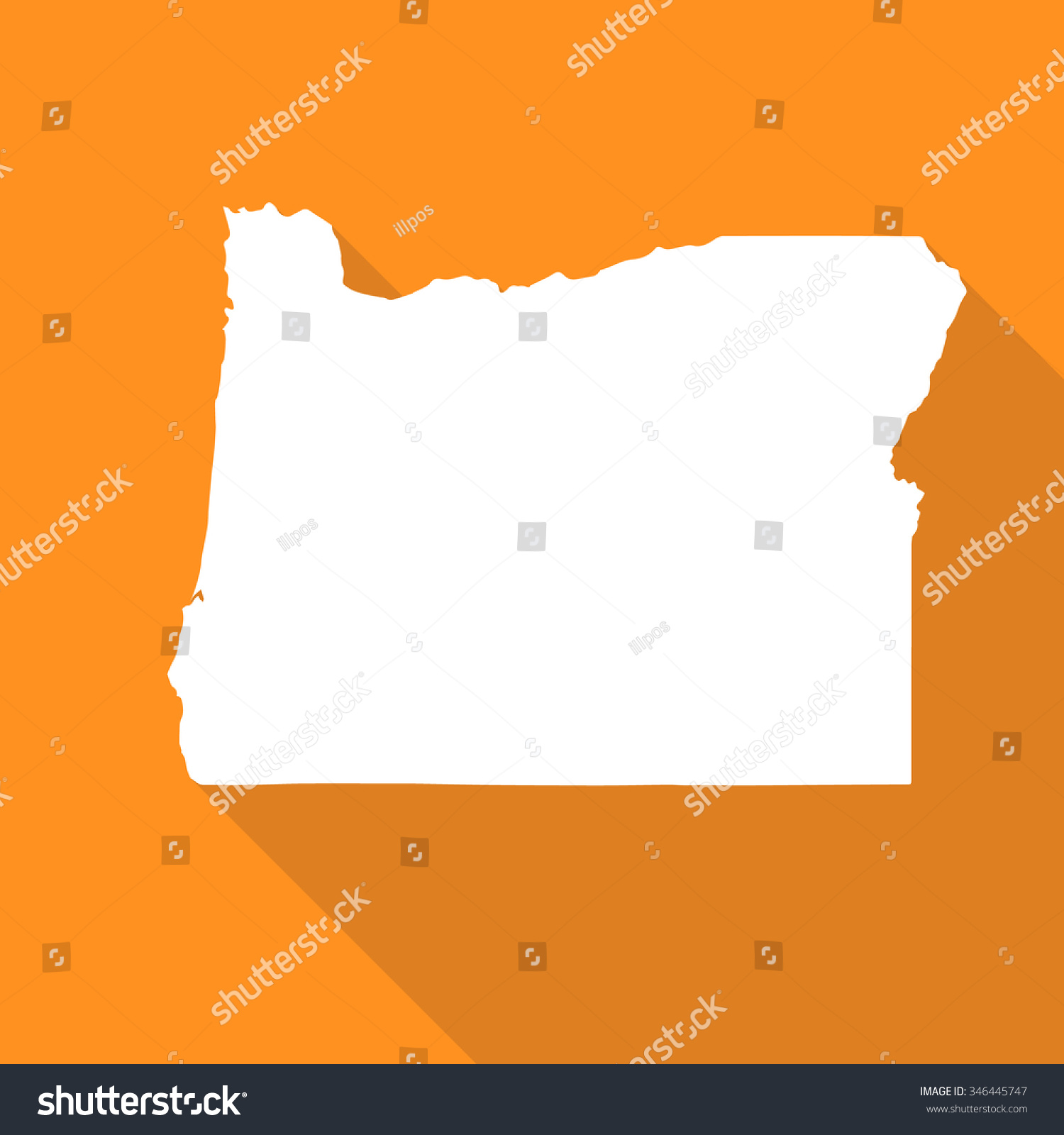 Oregon White Mapborder Flat Simple Style Stock Vector