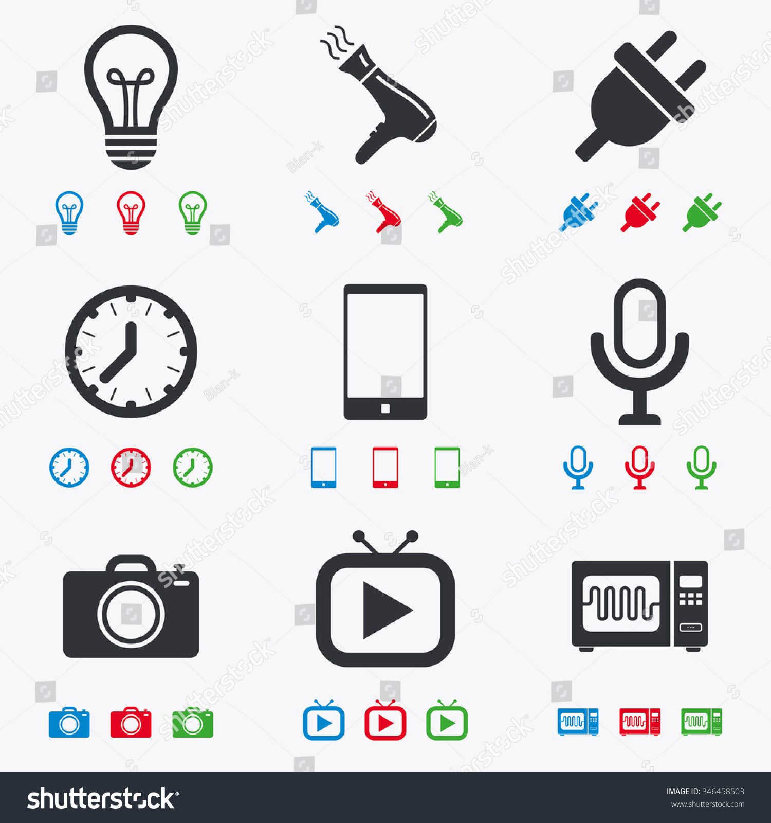 Home Appliances Device Icons Electronics Signs Stock Illustration ...