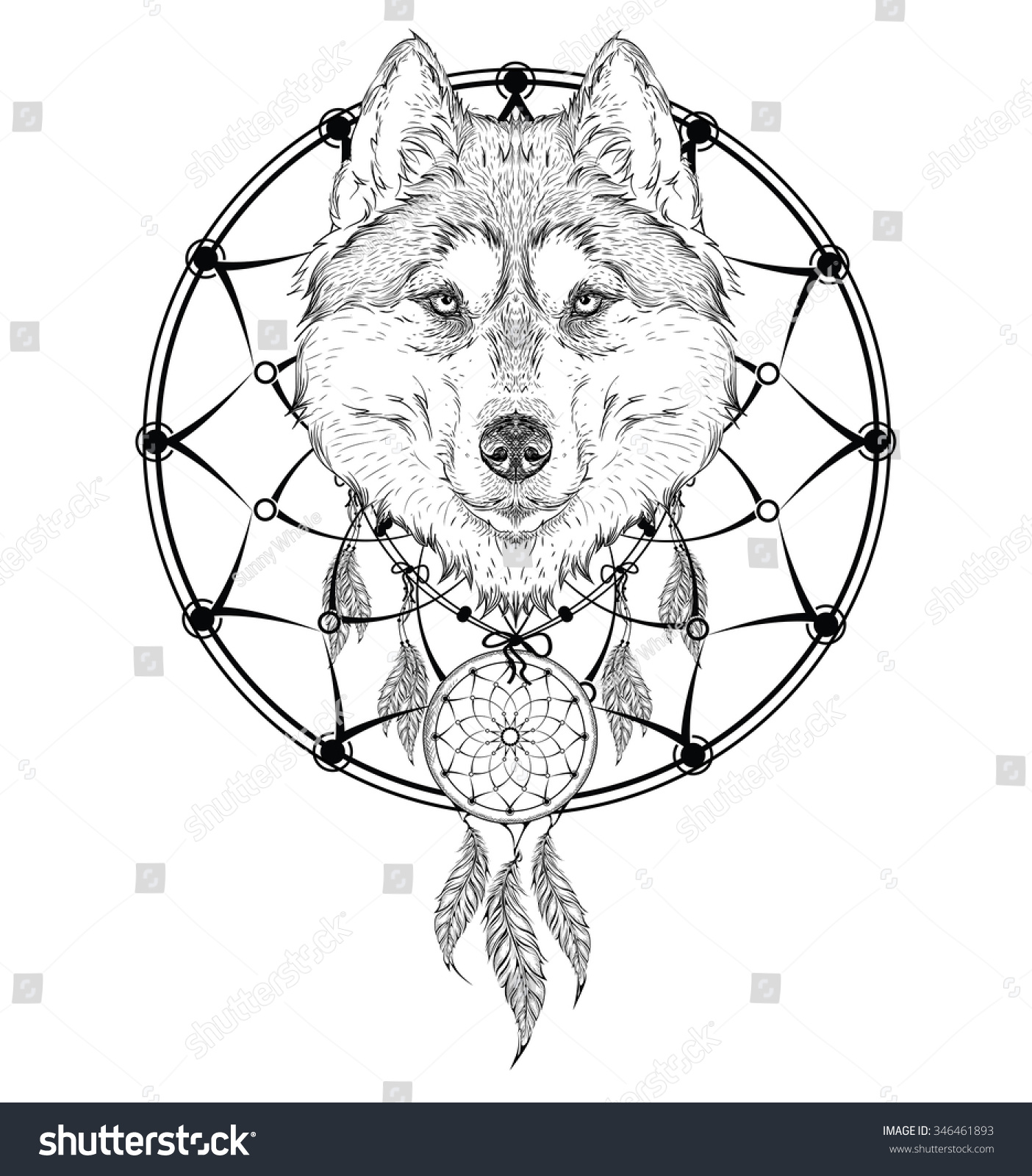 Animal hand drawn illustration wolf indian stock vector 346461893 animal hand drawn illustration wolf indian warrior native american poster hand draw vector ccuart Images