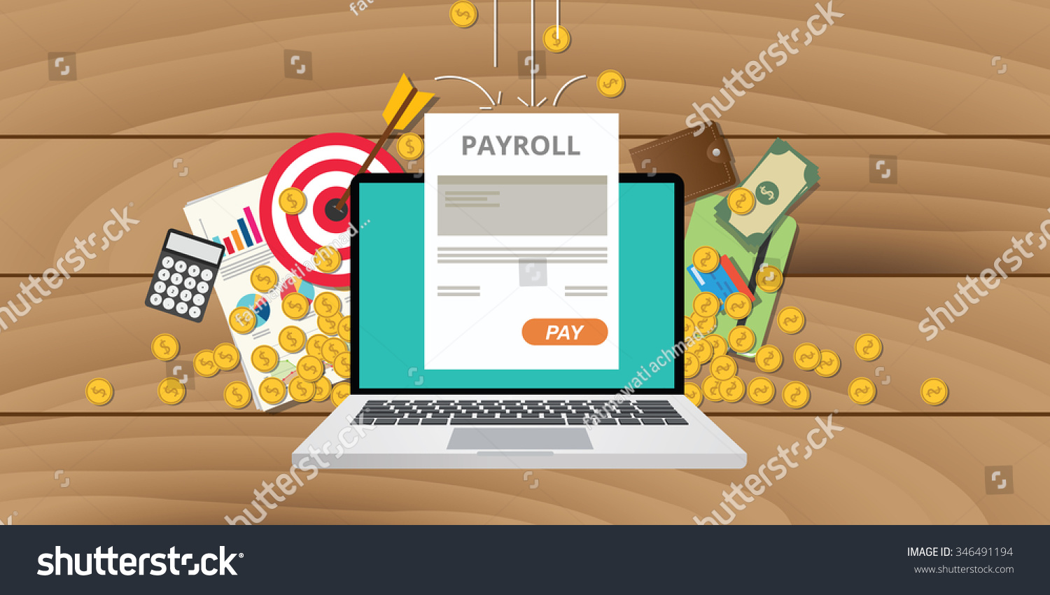 payroll wages money salary calculator accounting stock vector payroll wages money salary calculator accounting icon