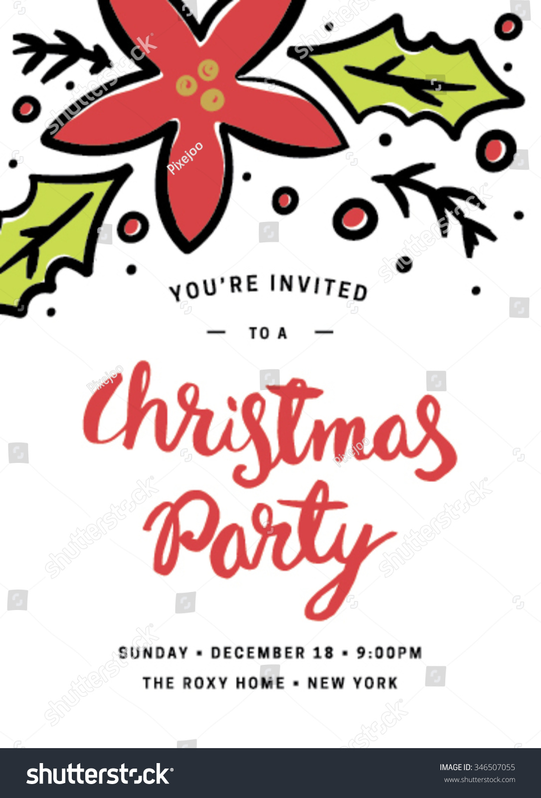 Christmas Party Invitation Template Flowers Stock Vector 346507055 ...