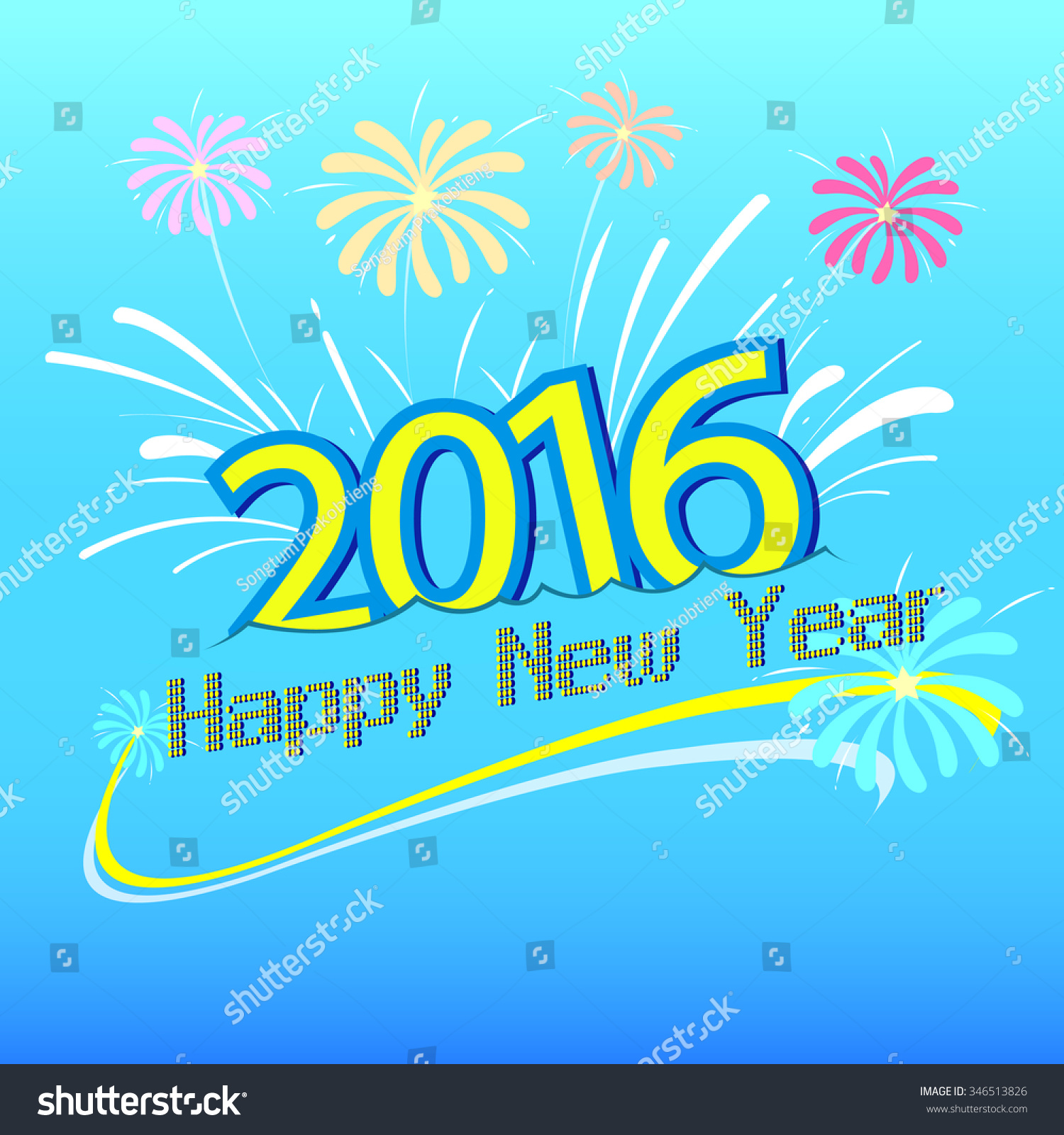 happy new year 2016 design vector stock vector 346513826 shutterstock. Black Bedroom Furniture Sets. Home Design Ideas