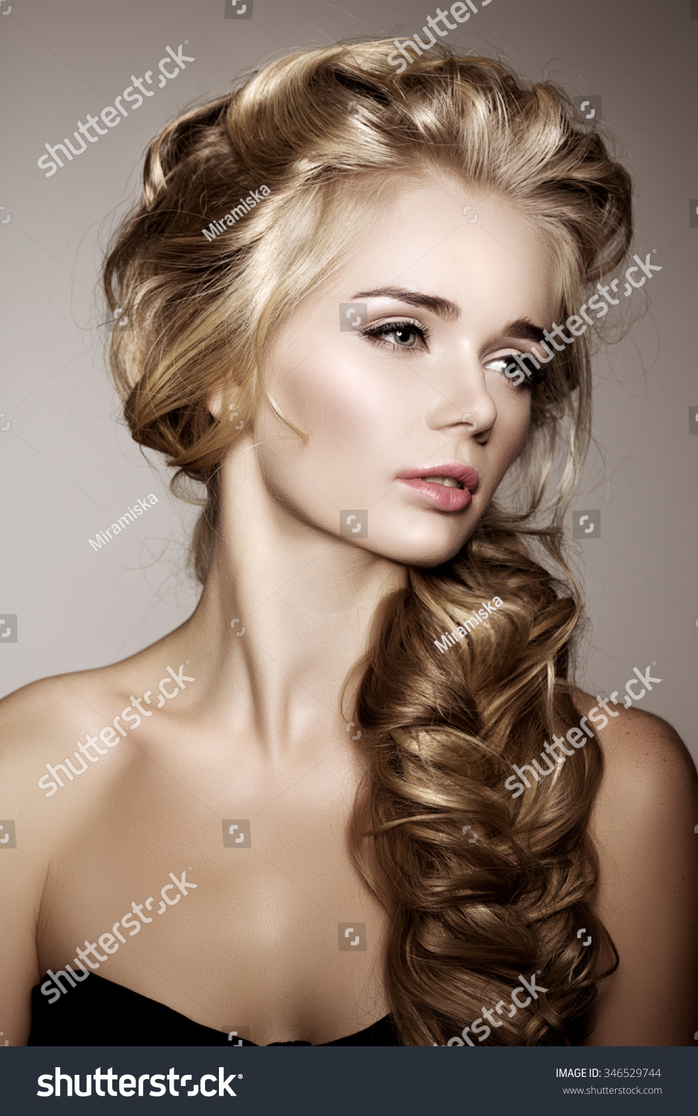 Model Long Braided Hair Waves Curls Stock Photo Edit Now 346529744