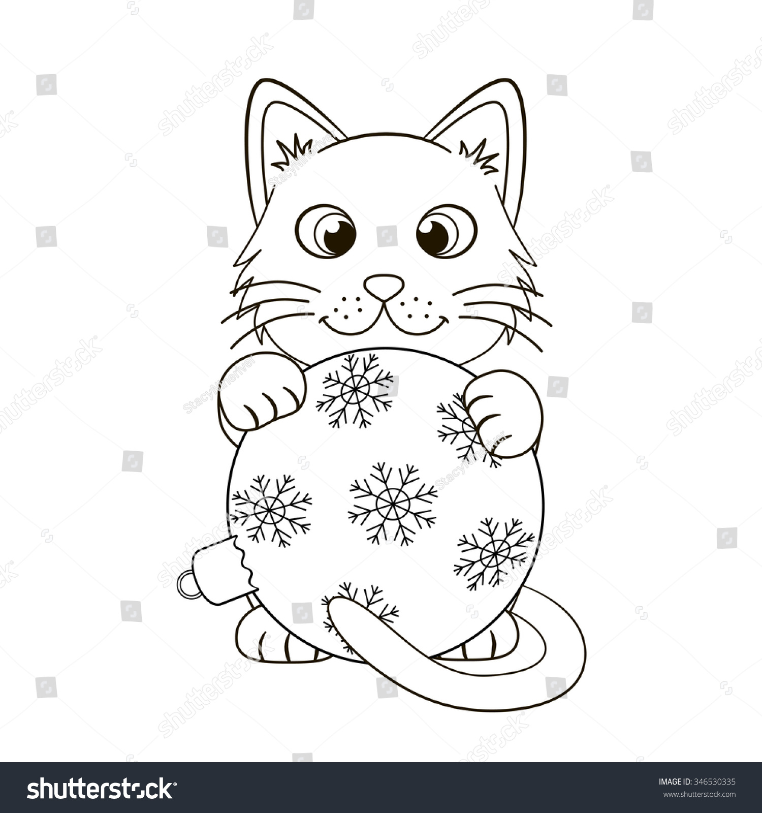 Cute Kitten Christmas Ball Funny Cat Stock Vector Royalty Free