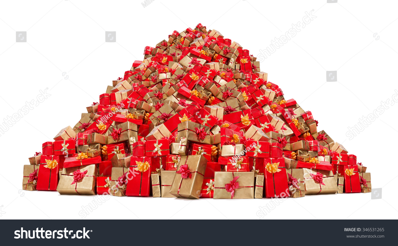 Big pile christmas gifts isolated on stock photo