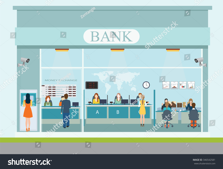 bank building exterior interior counter desk stock vector bank building exterior and interior counter desk cashier consulting money currency exchange