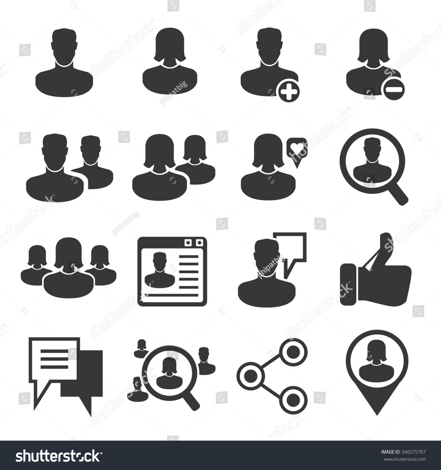 Social Media People Icons Stock Vector 346575767 ...