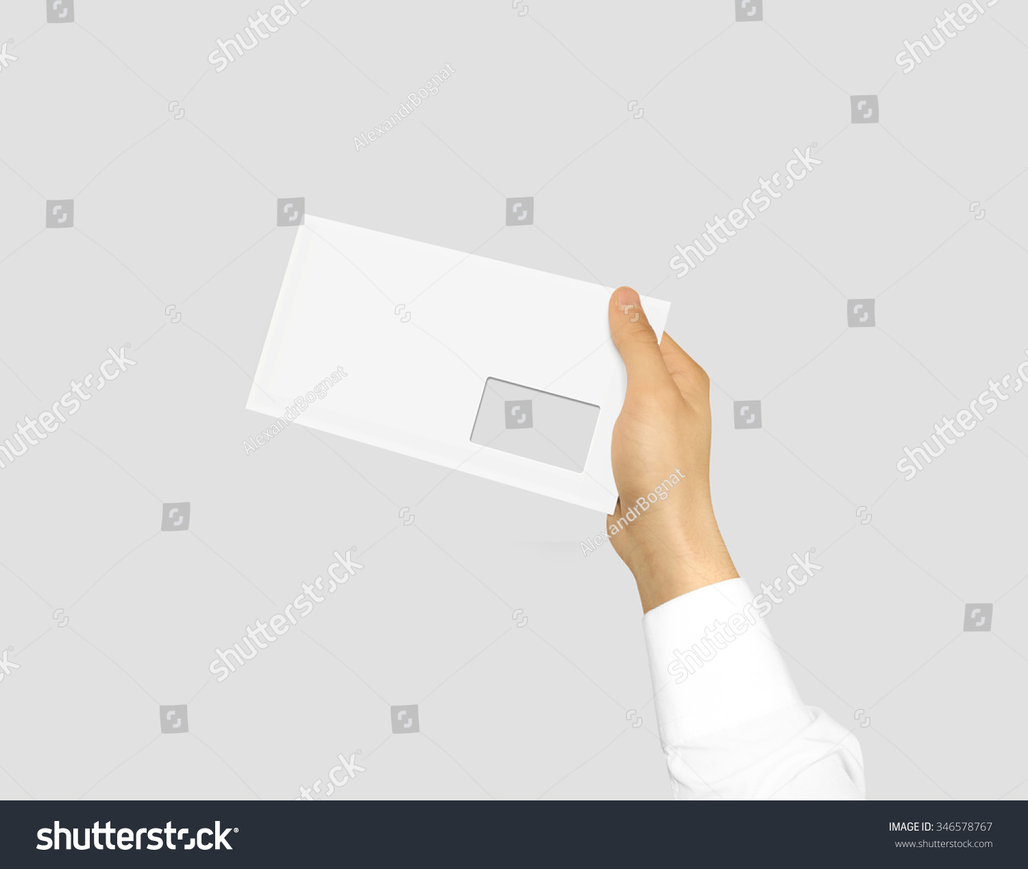 royalty-free white blank envelope mock up holding in… #346578767, Presentation templates