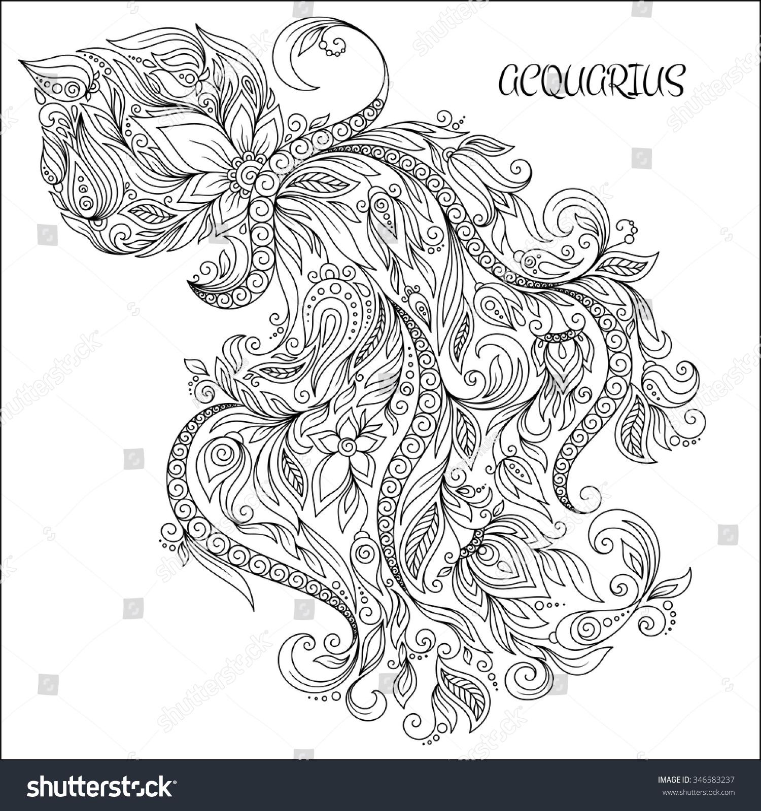 Pattern For Coloring Book Hand Drawn Line Flowers Art Of Zodiac Aquarius Horoscope Symbol
