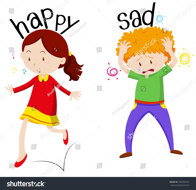 e3e99dc72c71c Happy Girl Sad Boy Illustration Stock Vector (Royalty Free ...