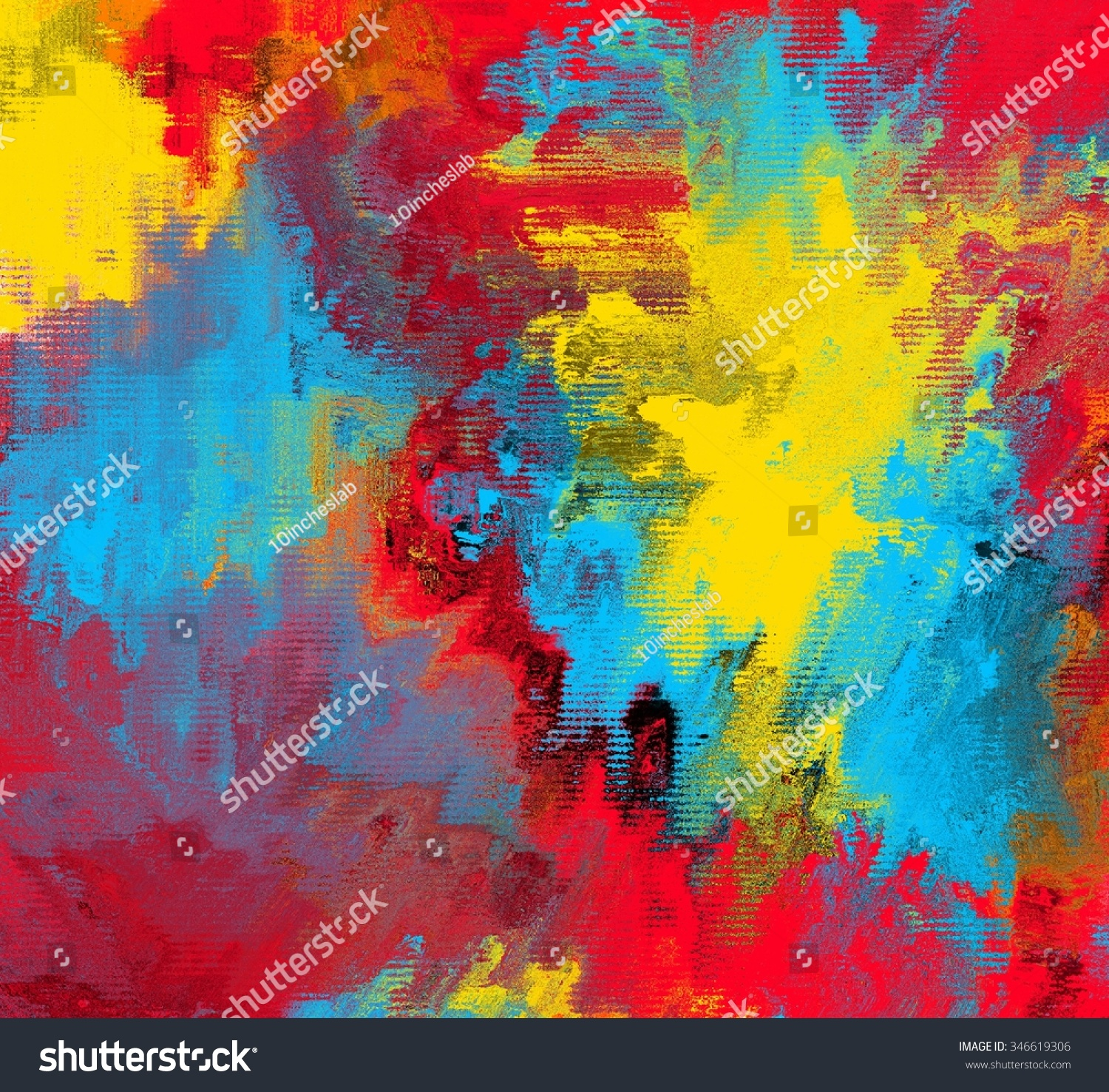 Red Blue Yellow Abstract Painting Texture Stock Illustration
