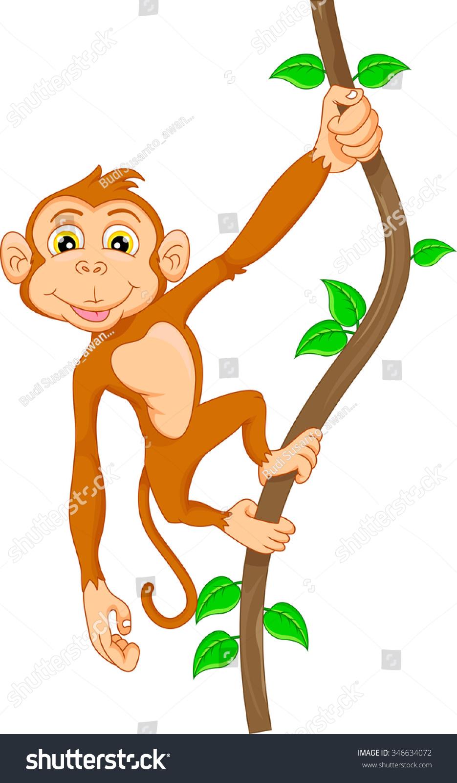 Cartoon monkeys hanging from a tree - photo#14