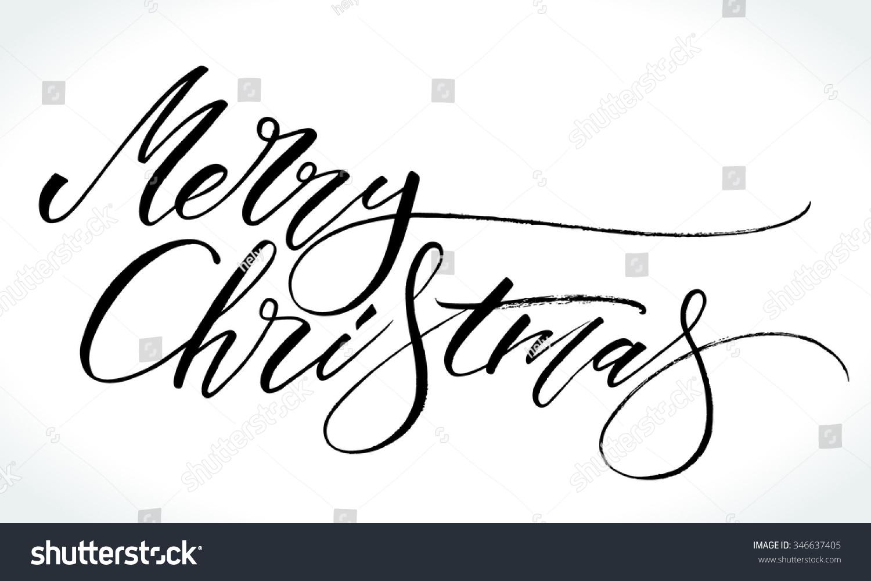 Merry Christmas Modern Calligraphy Handwritten Letters