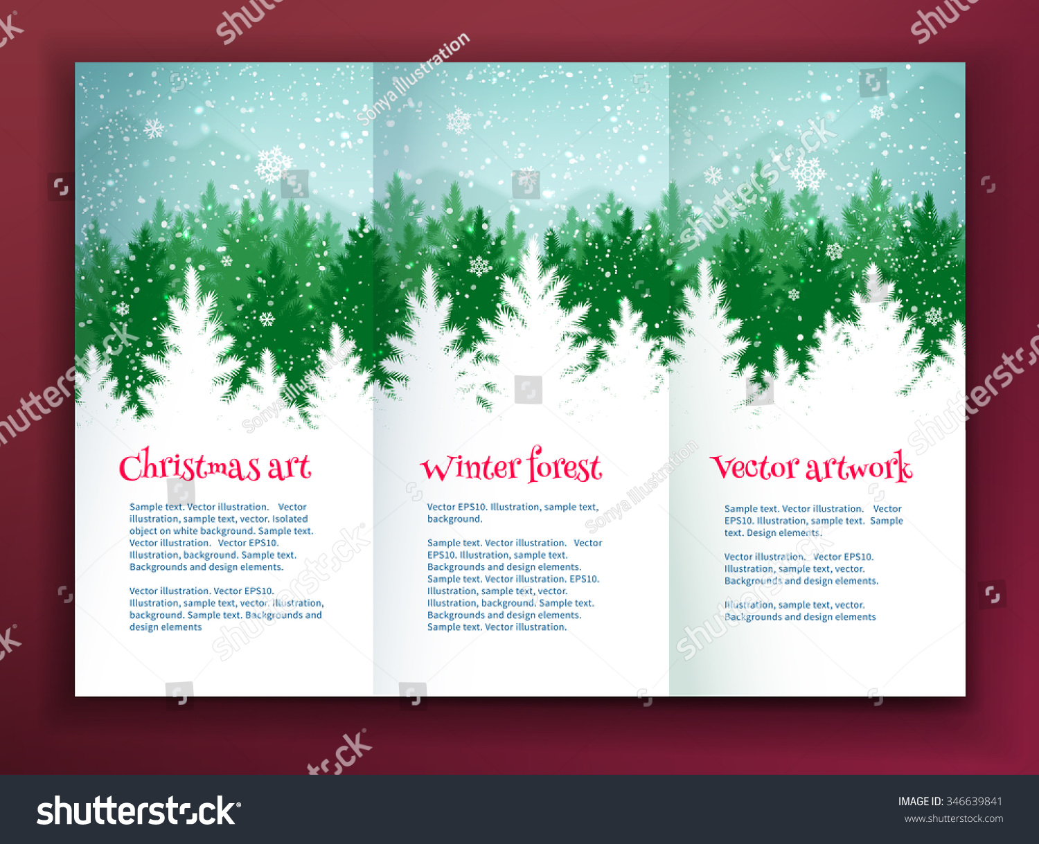 christmas leaflet design template winter spruce stock vector christmas leaflet design template winter spruce green forest silhouette landscape and falling snow